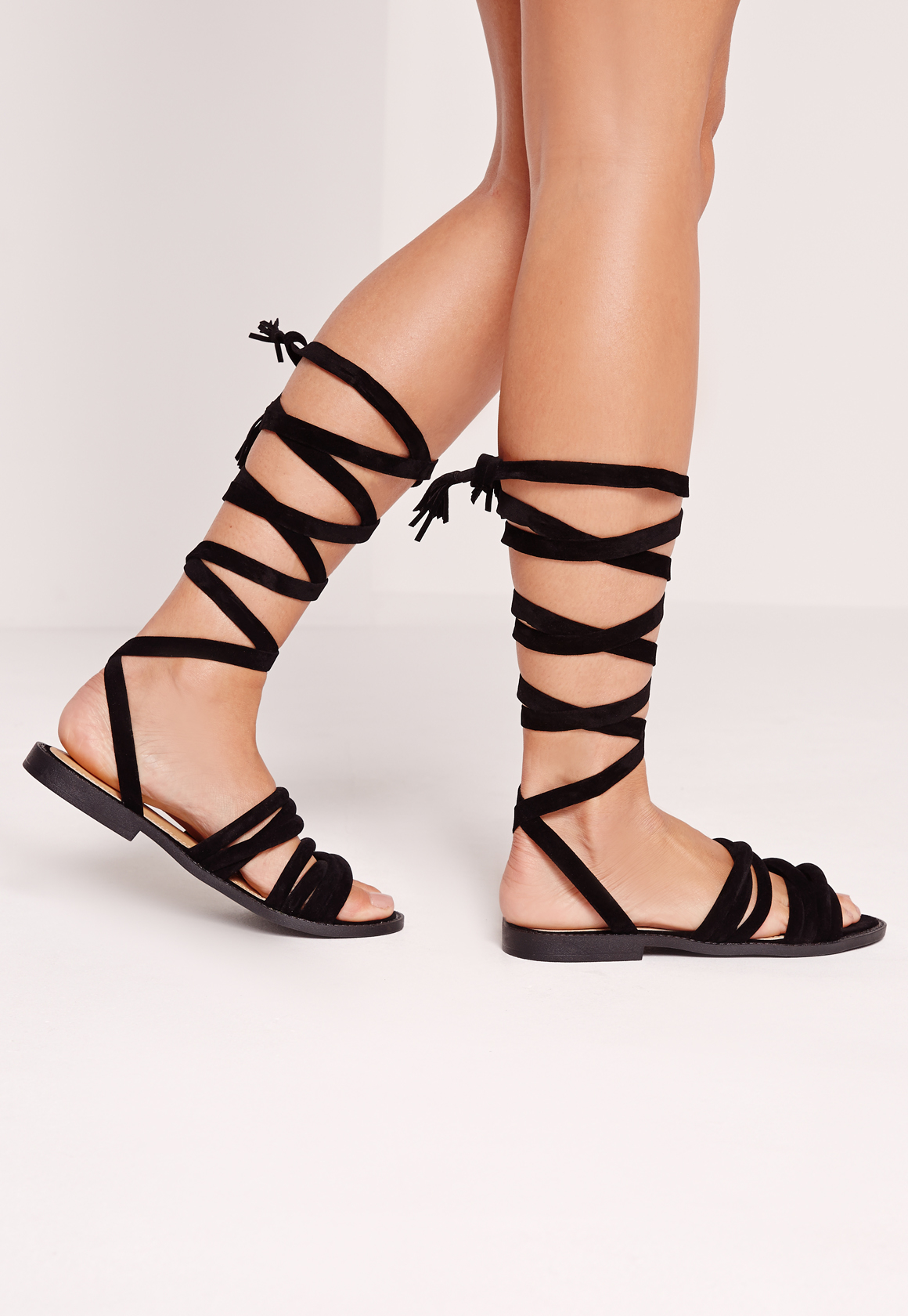 Lyst Missguided Thick Strap Flat Wrap Around Sandal