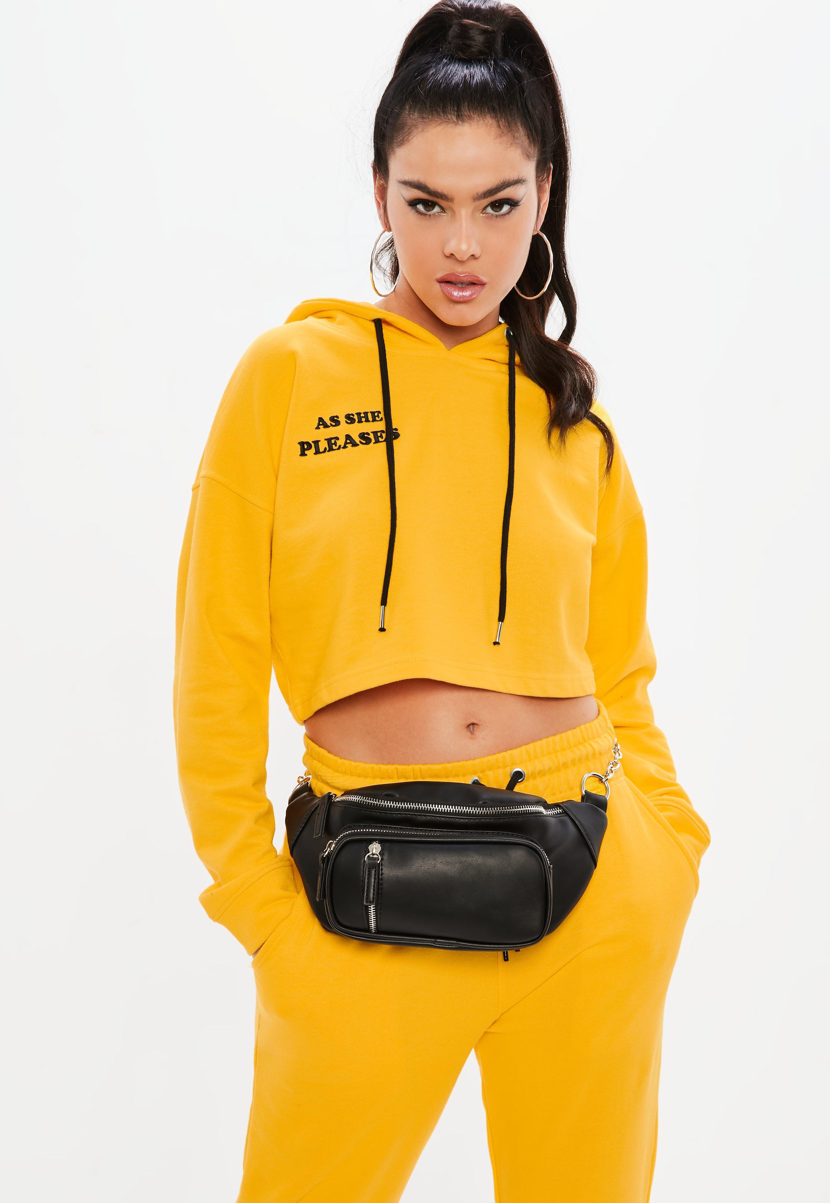 61020916860d Lyst - Missguided Madison Beer X Yellow Graphic Crop Hoodie in Yellow