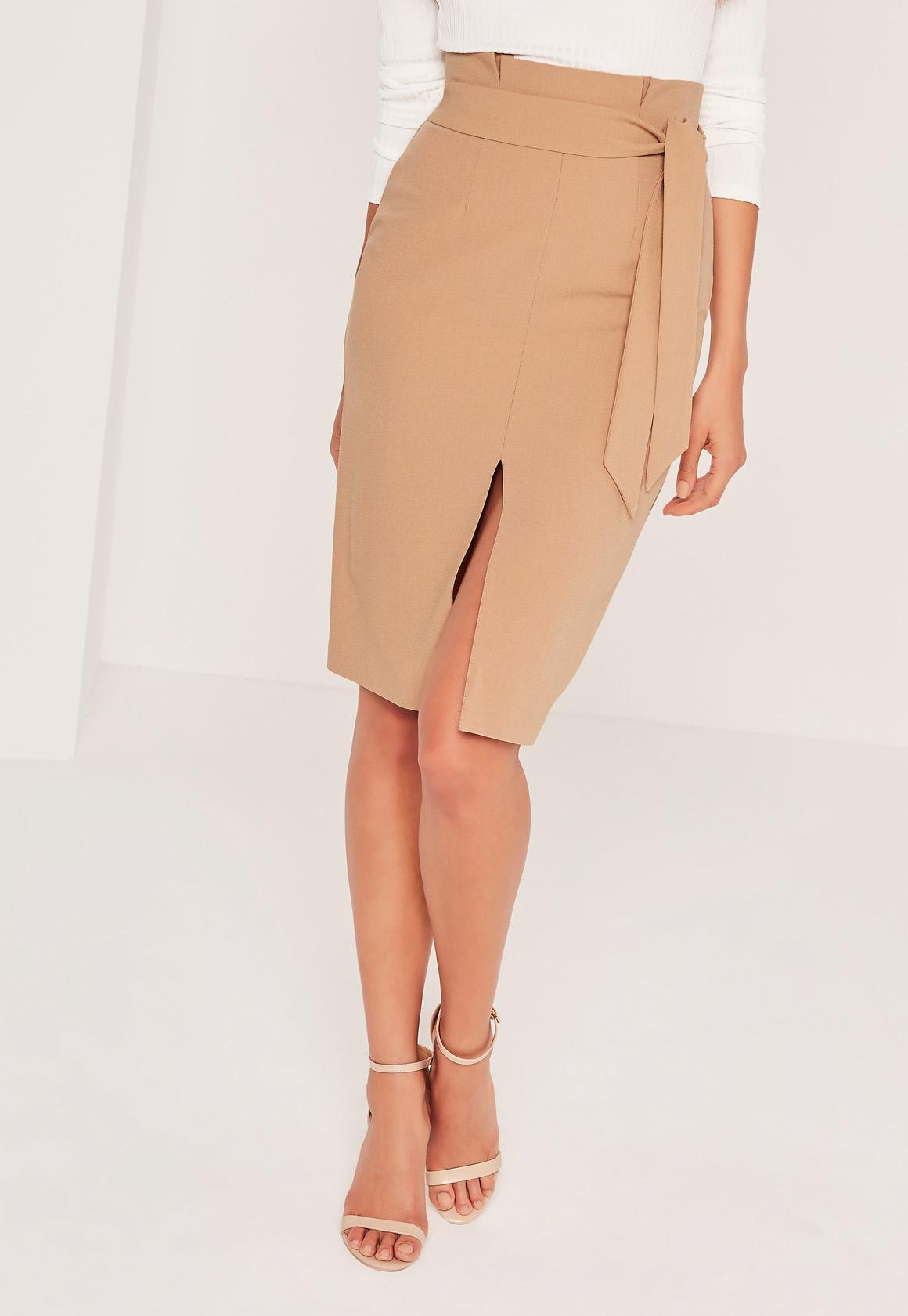 Missguided Paper Bag Waist Pencil Skirt Tan in Blue | Lyst