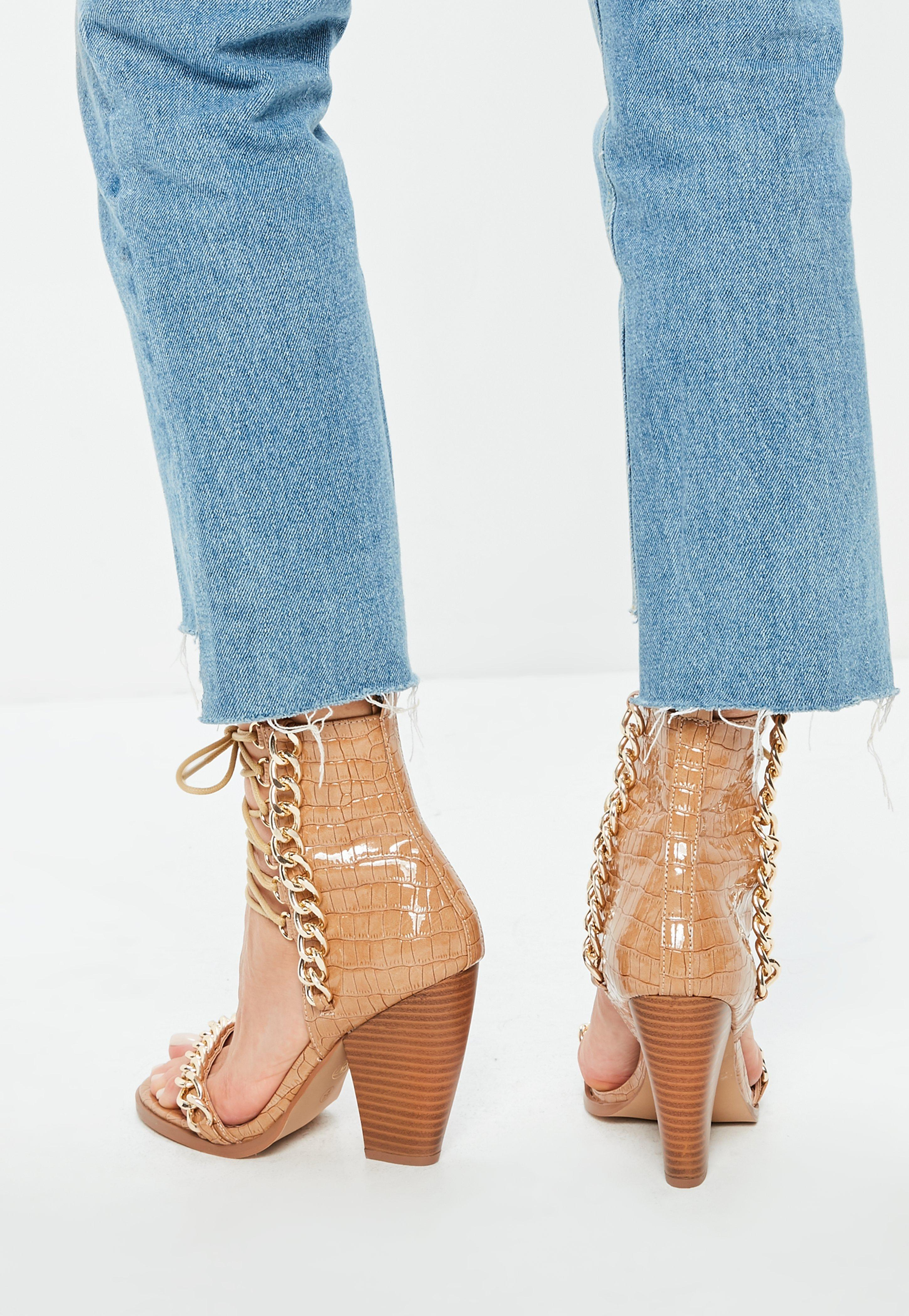 63cc52df71ba Missguided - Multicolor Nude Croc Chain Lace Up Heeled Sandals - Lyst. View  fullscreen