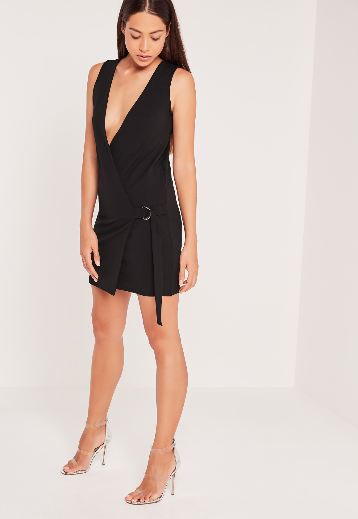 Missguided Sleeveless Wrap Tux Dress Black in Black | Lyst