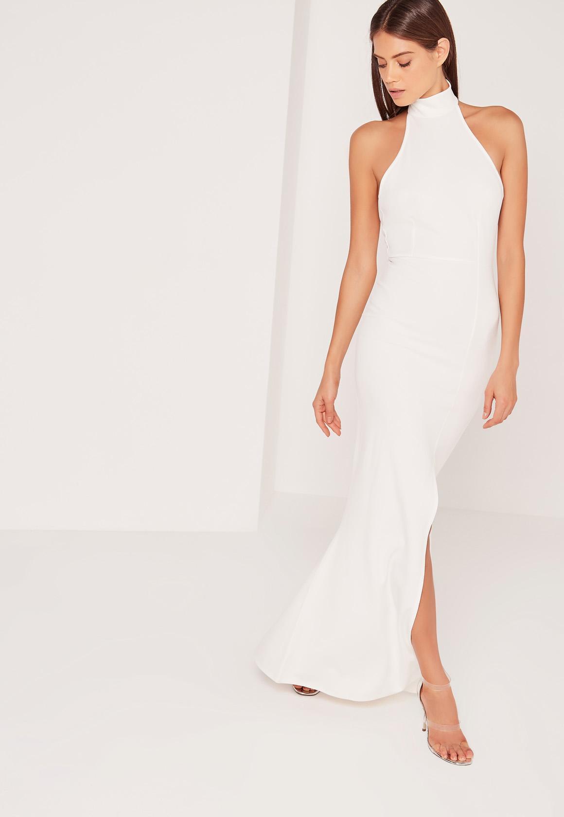 Missguided Choker Maxi Dress White in White