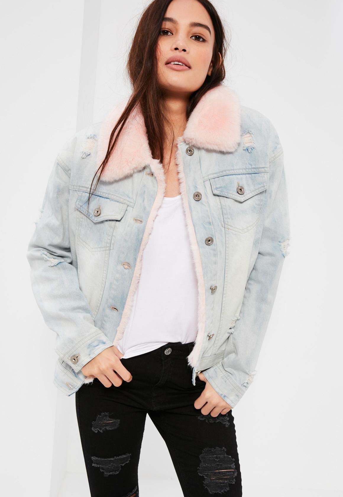 Missguided Faux Fur Lined Denim Jacket Blue In Blue Lyst
