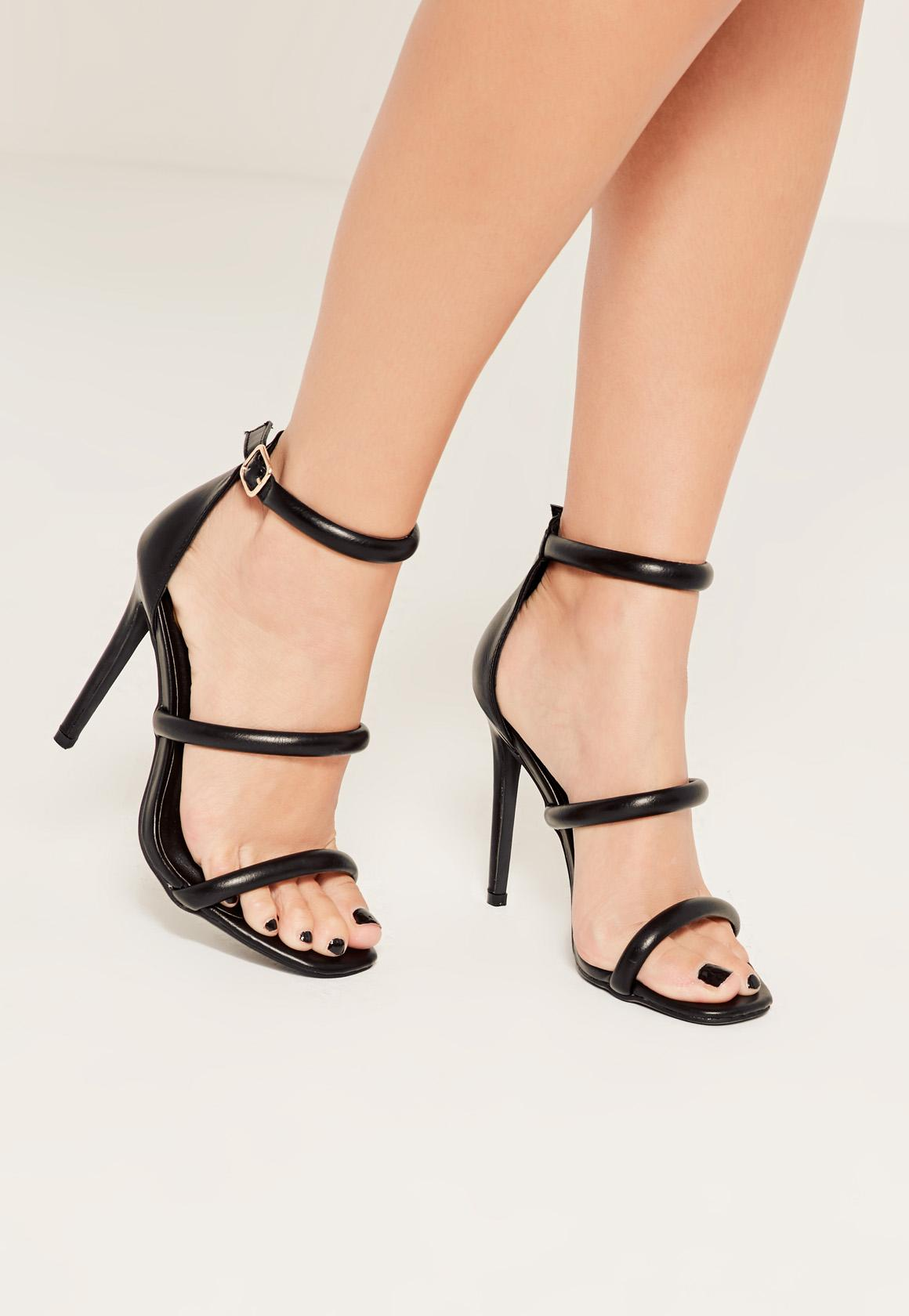 Missguided Black Rounded Three Strap Barely There Heels In