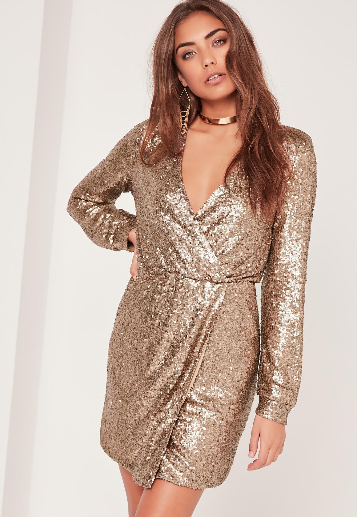 Missguided Long Sleeve Sequin Wrap Dress Gold In Metallic