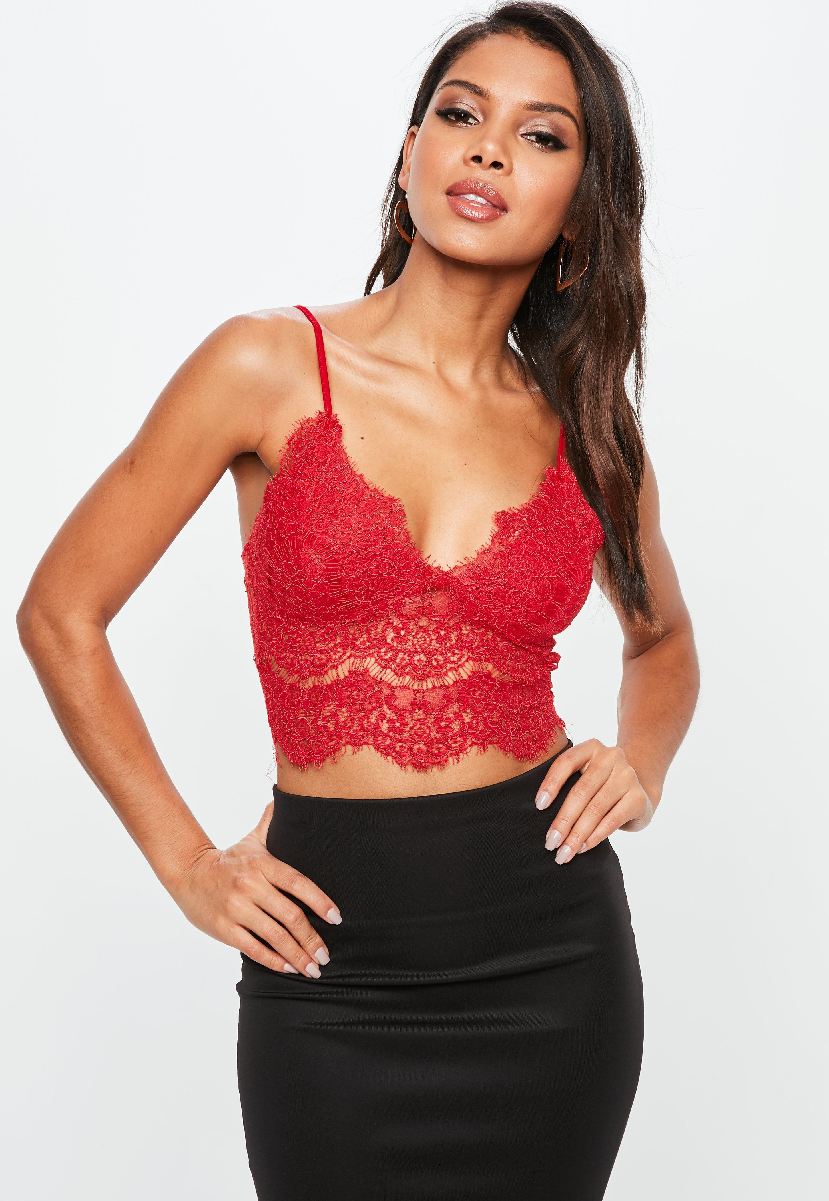 bf8ff7c7fd Missguided Red Corded Lace Cami in Red - Lyst