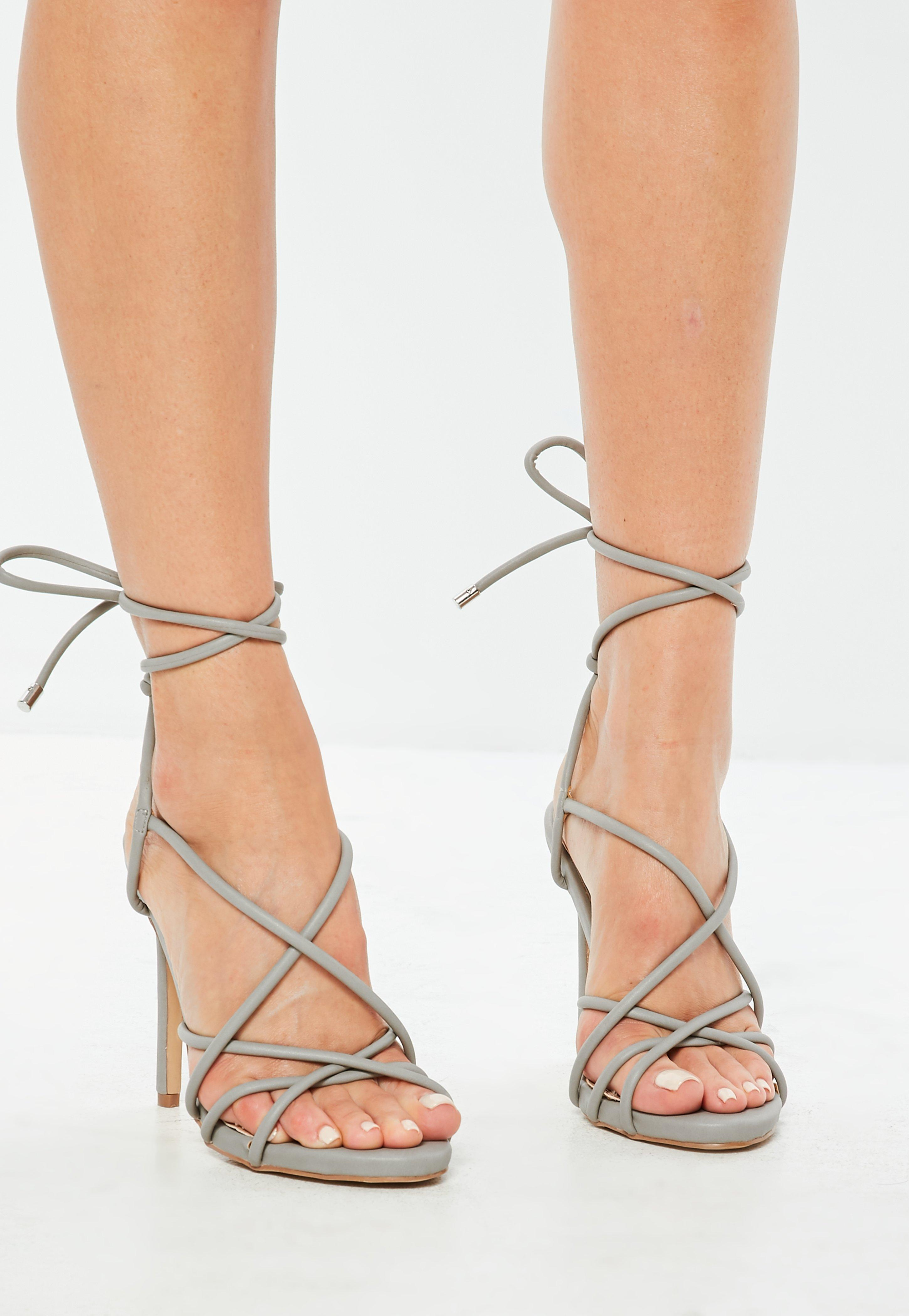 089f2f290f23 Lyst Missd Gray Lace Up Heeled Gladiator Sandals In