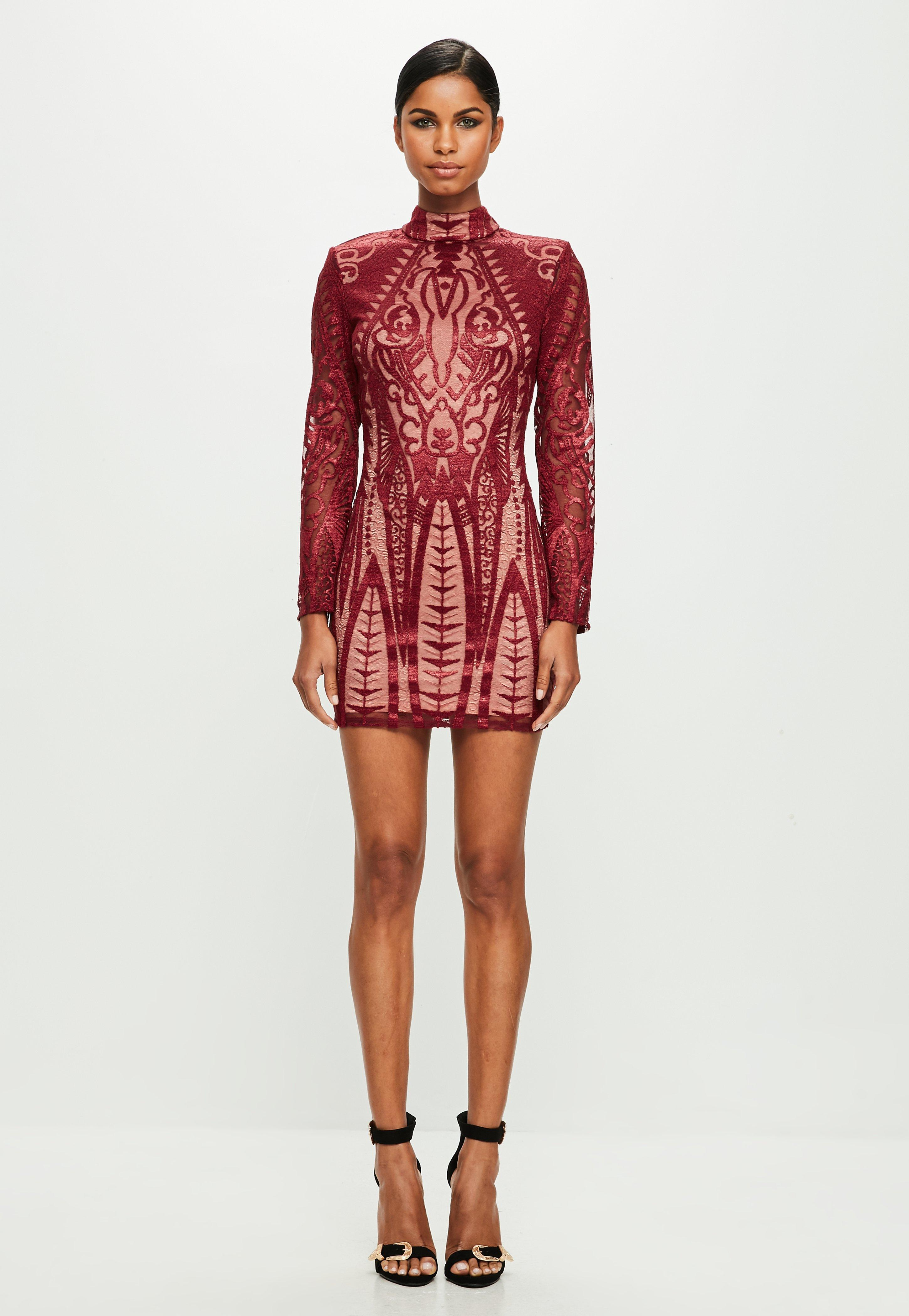 fa4e5d1f4714 Missguided Peace + Love Red Placed Lace High Neck Bodycon Dress in ...