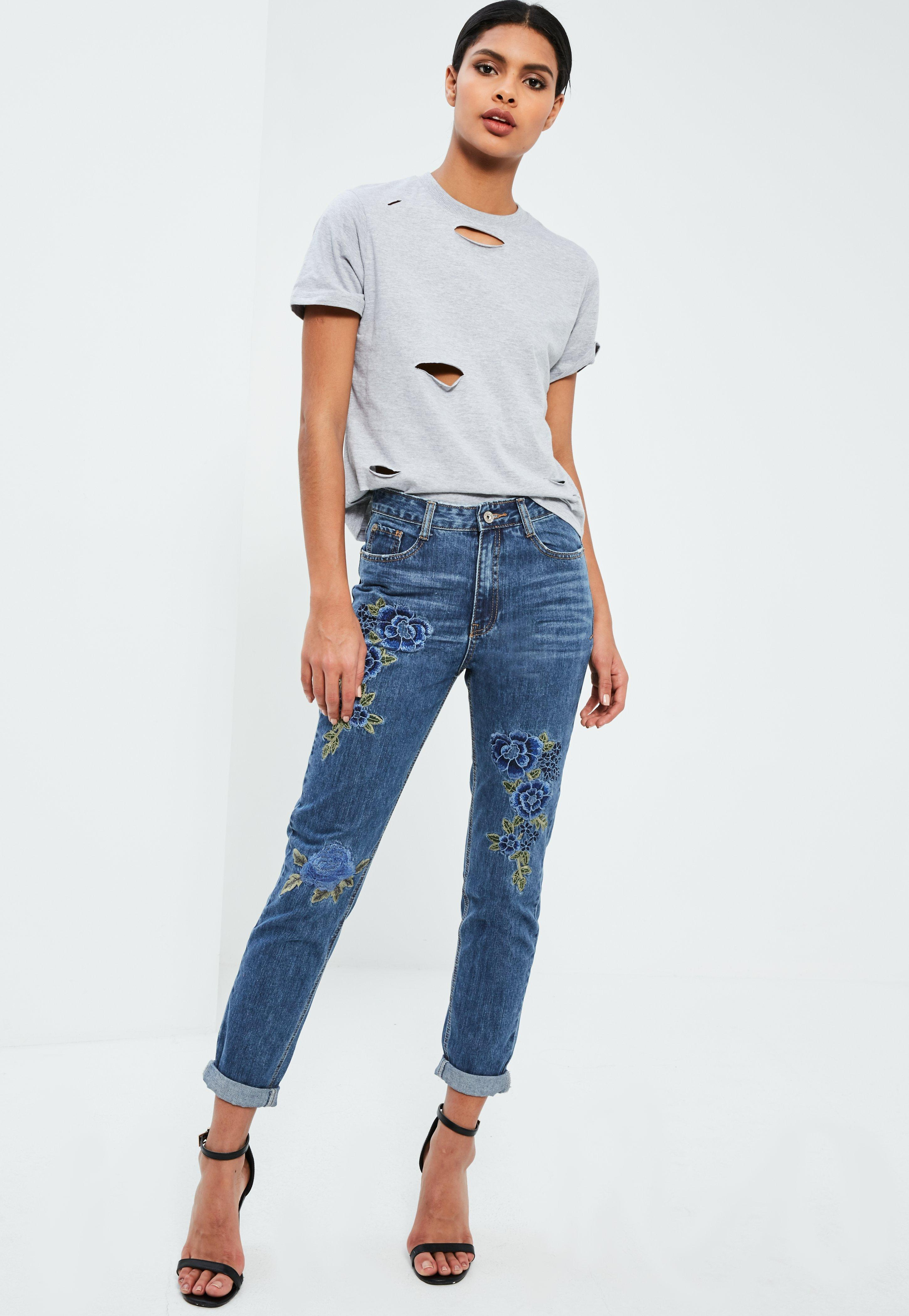 Missguided Blue Riot High Rise Floral Embroidered Jeans In