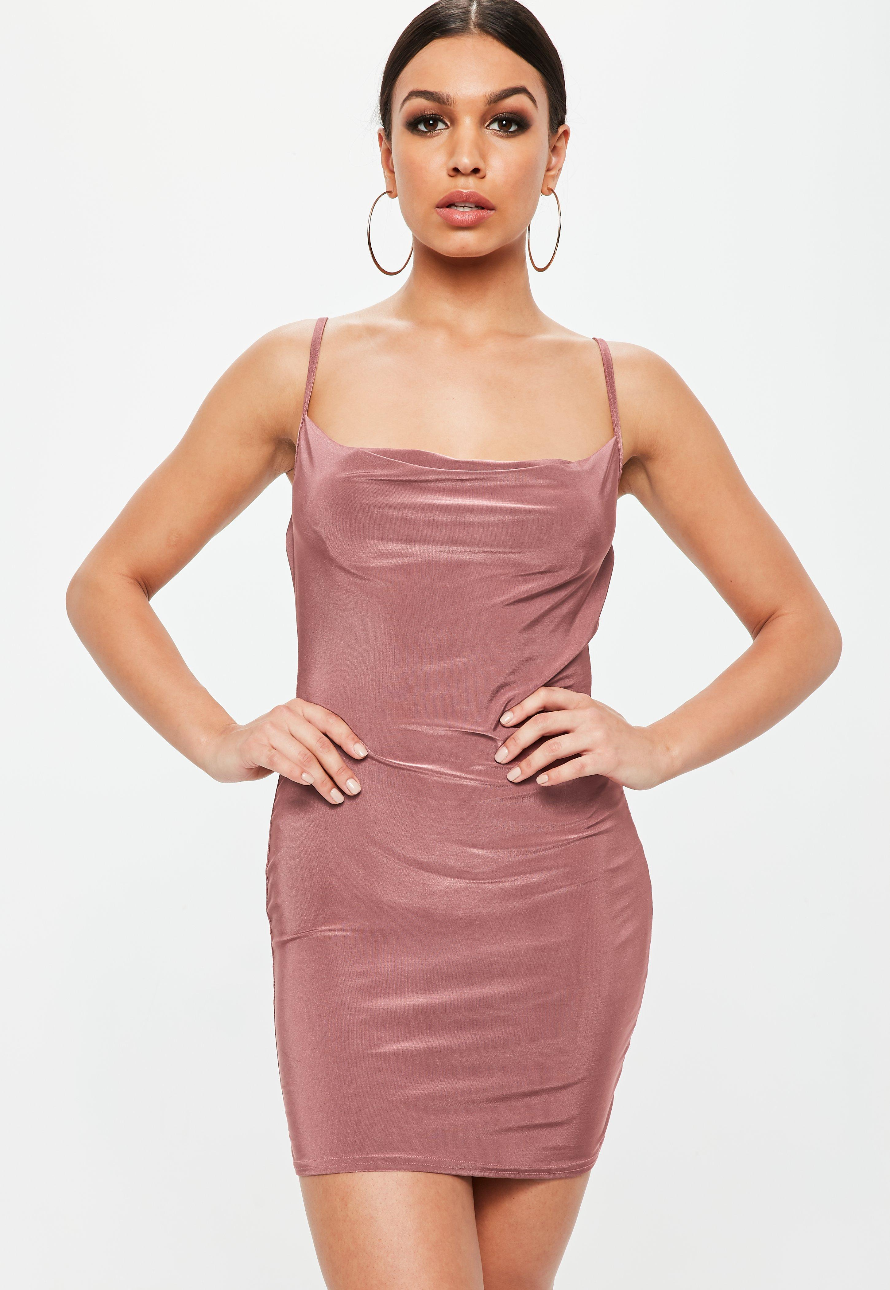 d7e432f3f68d1 Lyst - Missguided Petite Pink Slinky Cowl Neck Mini Dress in Pink