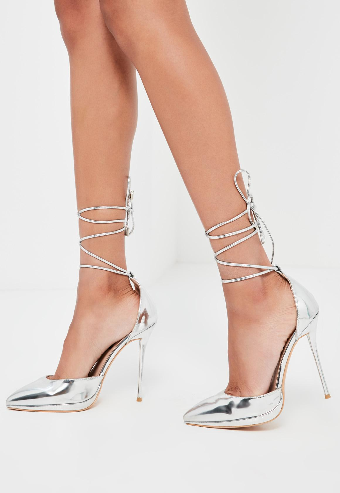 Missguided Peace Love Silver Lace Up Court Shoes In