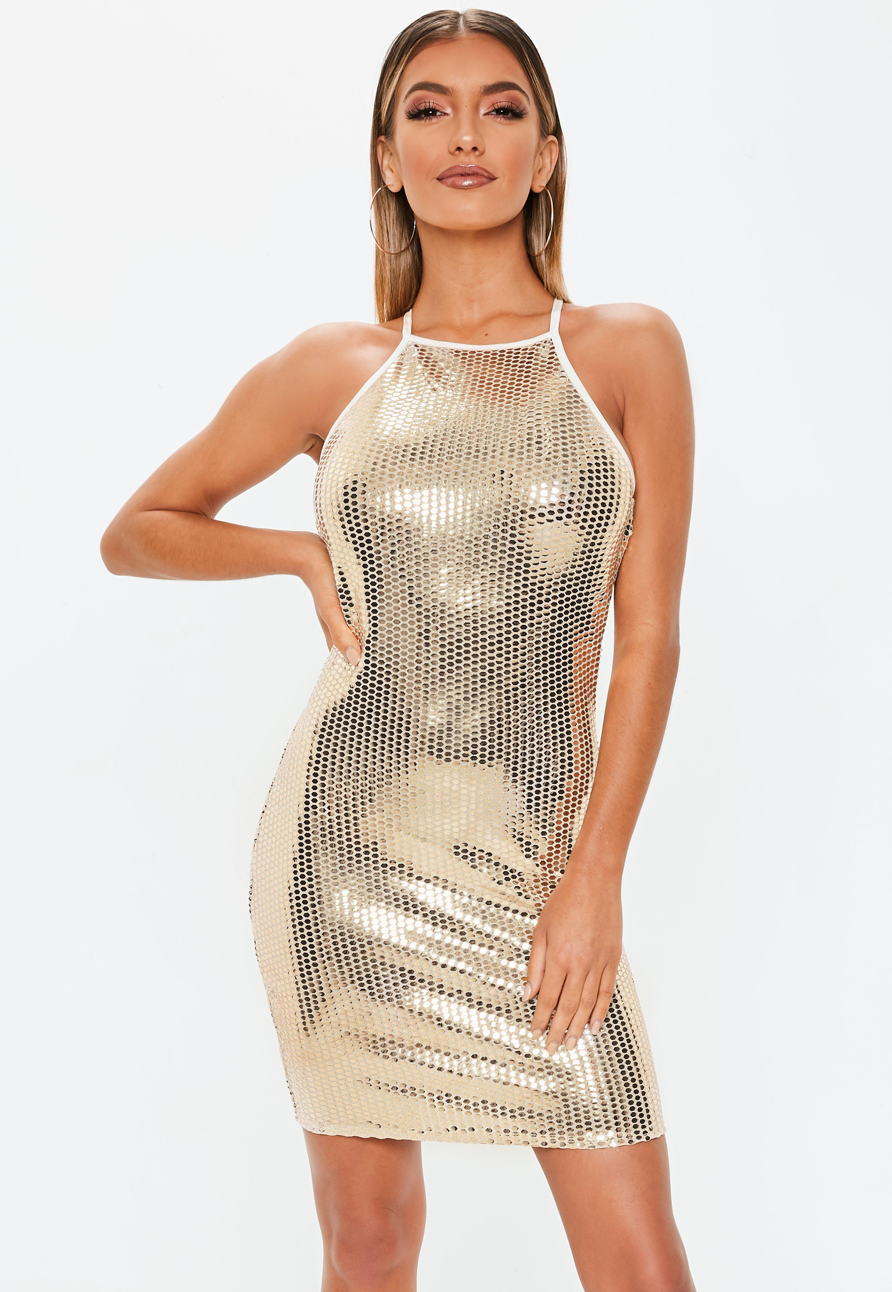 Lyst - Missguided Tall Gold Sequin Bodycon Mini Dress in Metallic a2098fb4035