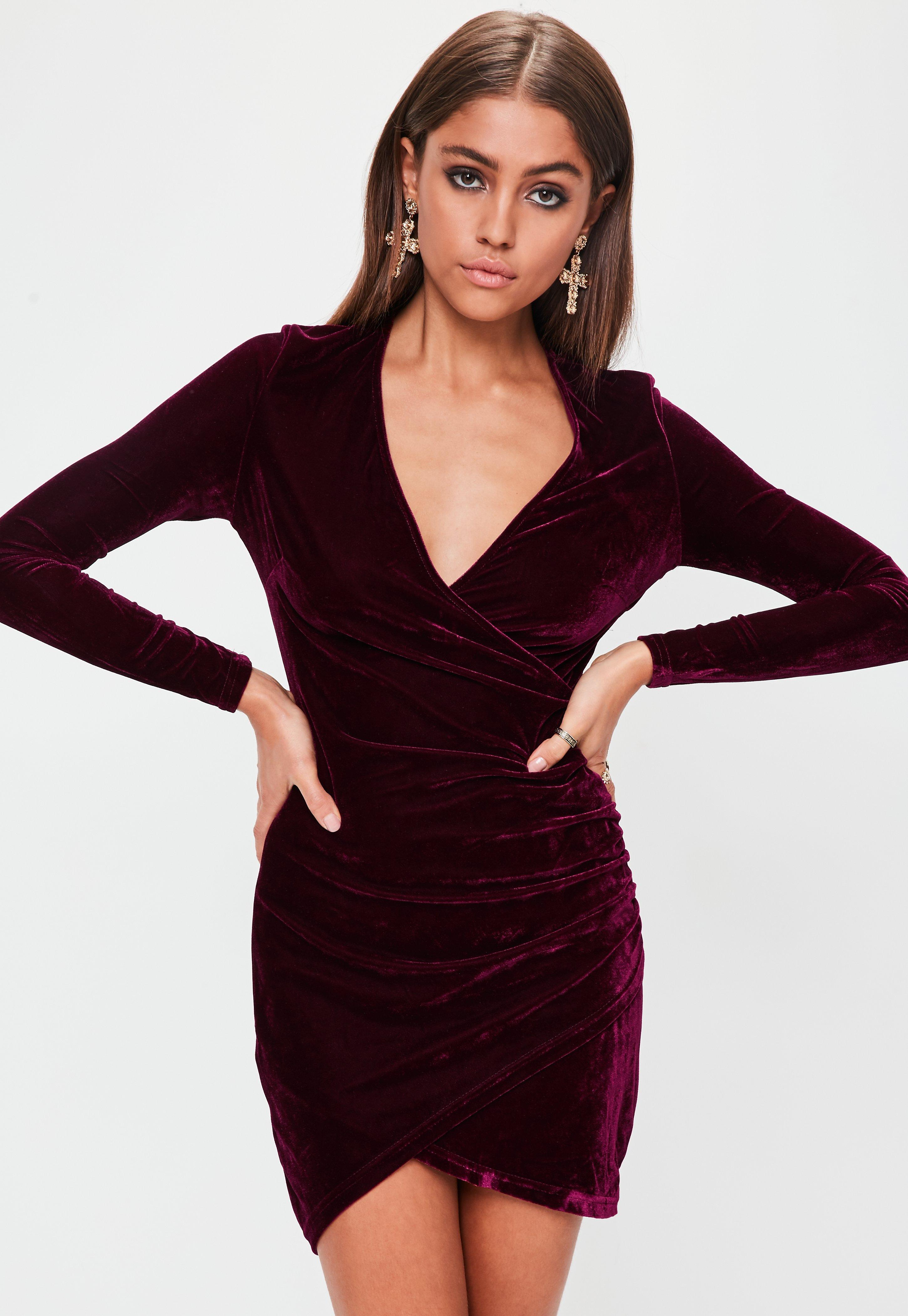 Lyst - Missguided Red Velvet Long Sleeve Wrap Dress in Red 04b32a571