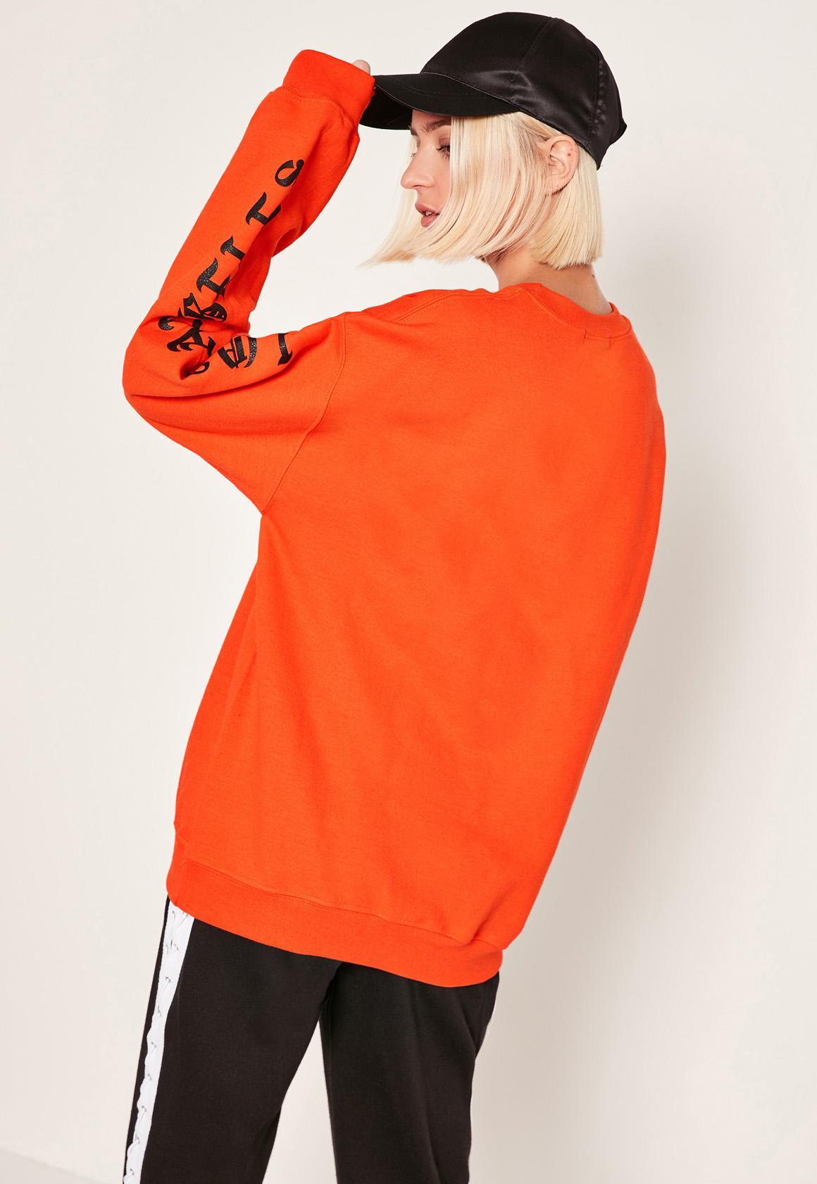 18b9cc7da Missguided Orange 1986 La Sweatshirt in Orange - Lyst