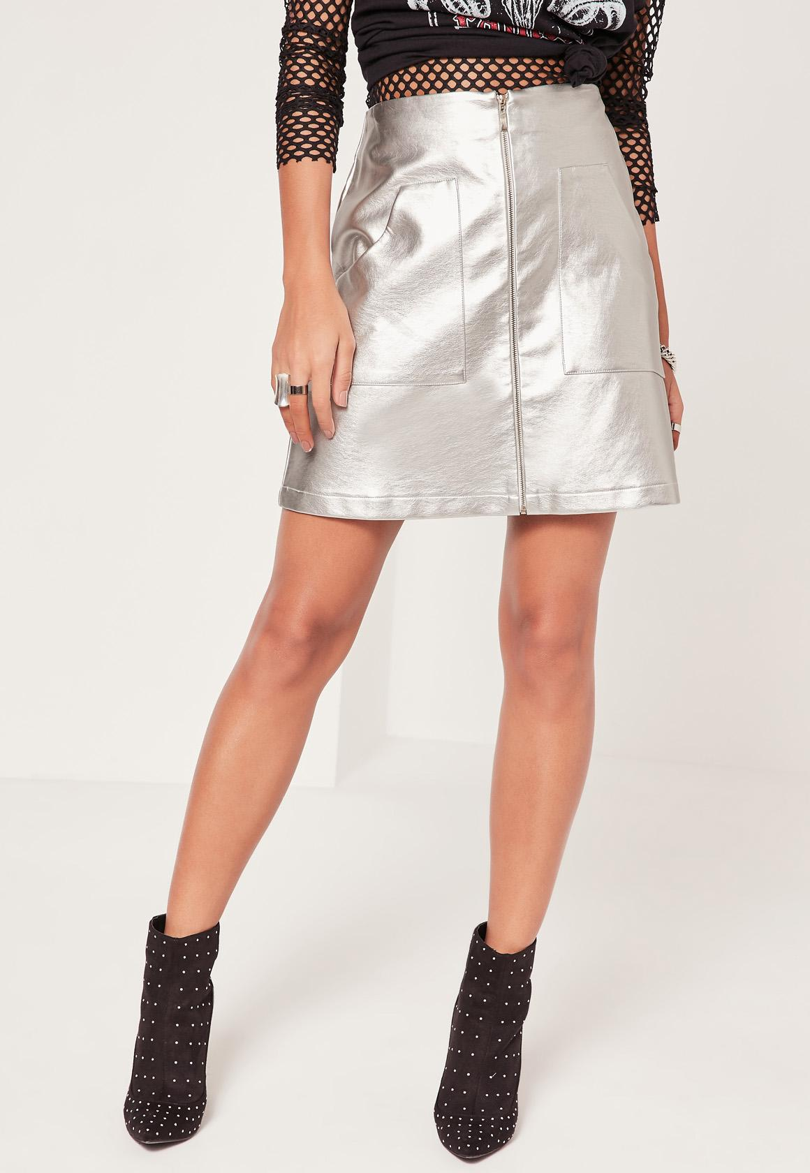 missguided silver zip through pocket detail faux leather