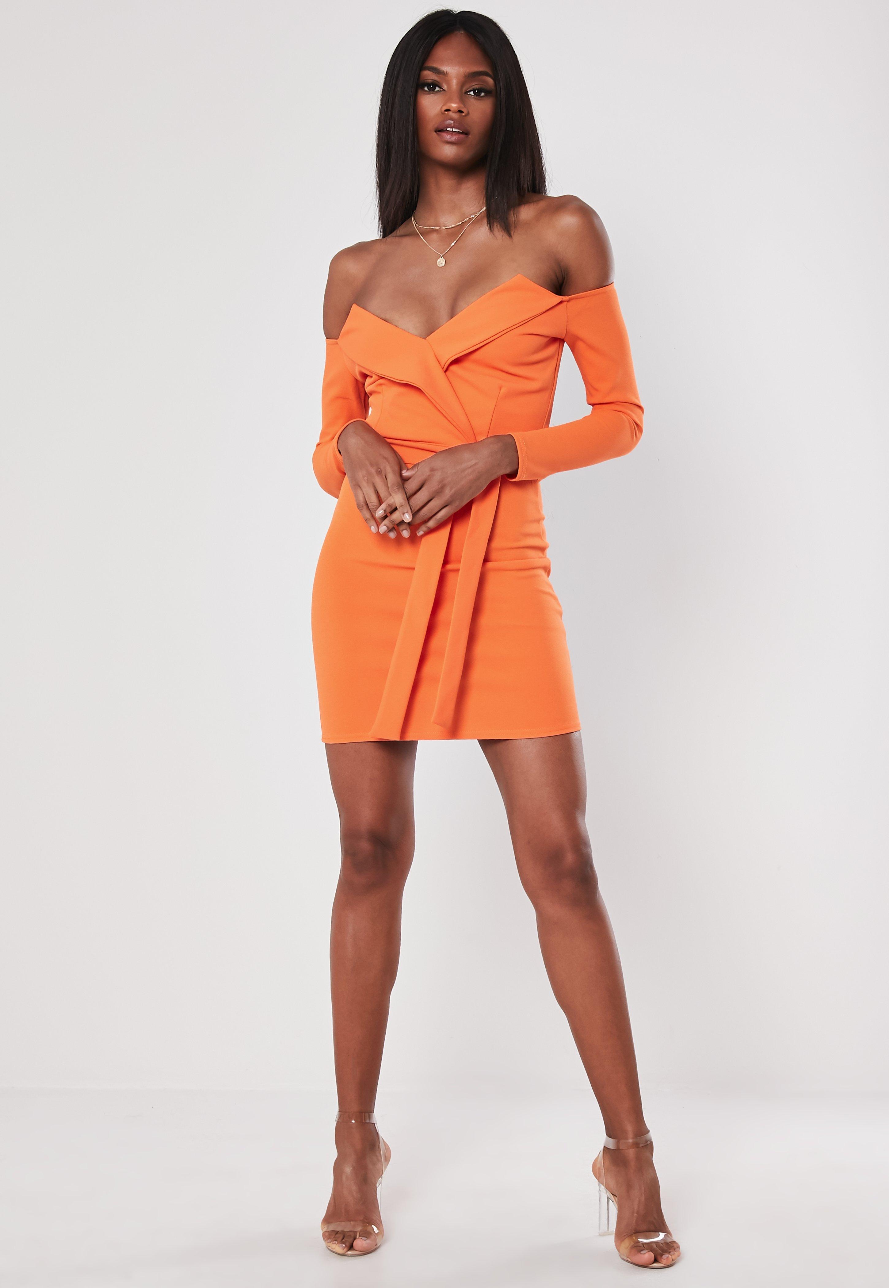 3f2a9013a91d Missguided - Orange Bardot Wrap Belted Bodycon Mini Dress - Lyst. View  fullscreen