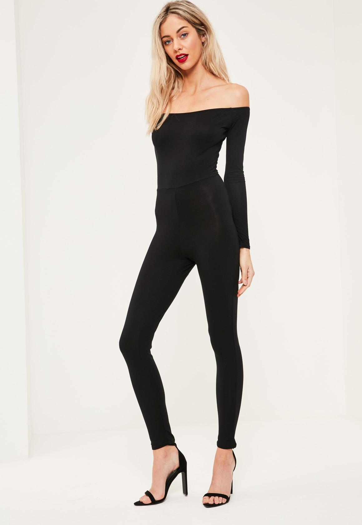 Missguided Black Long Sleeve Bardot Jersey Unitard ...