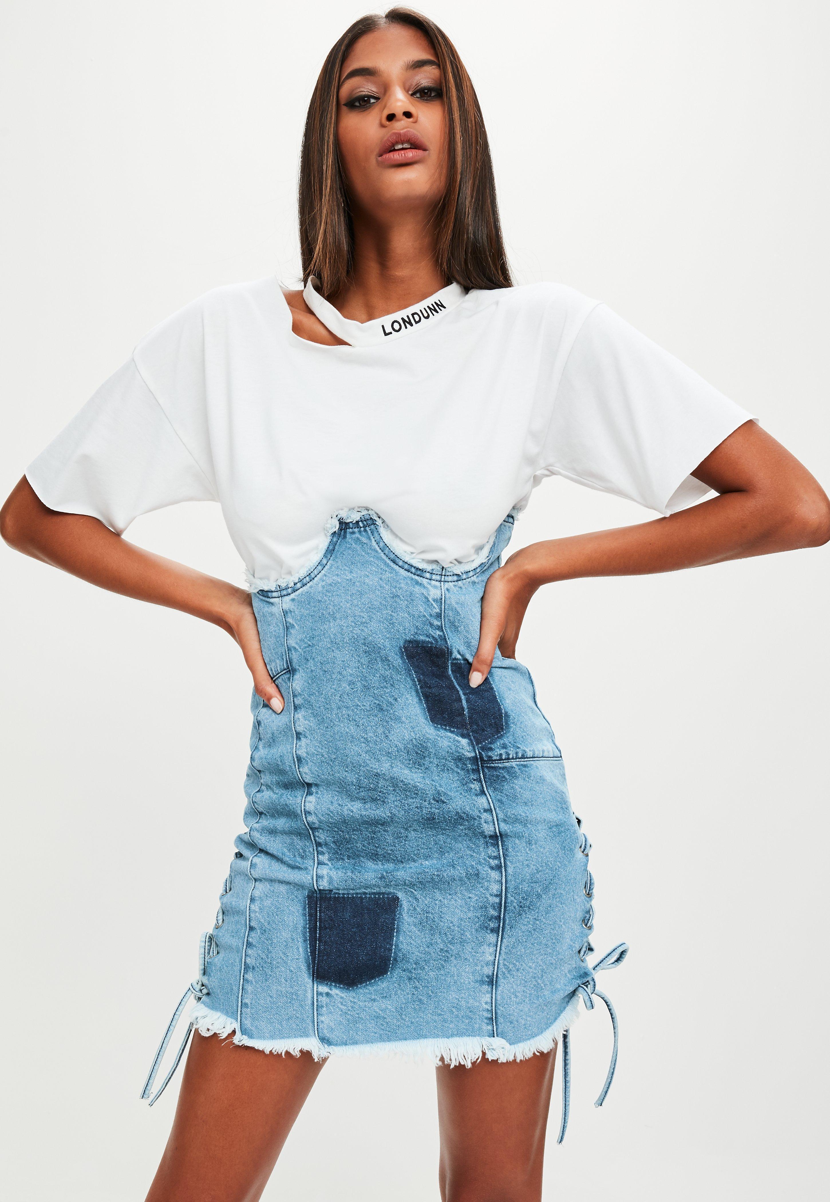bf21efc683 Lyst - Missguided Londunn + Blue Denim High Waist Denim Skirt in Blue