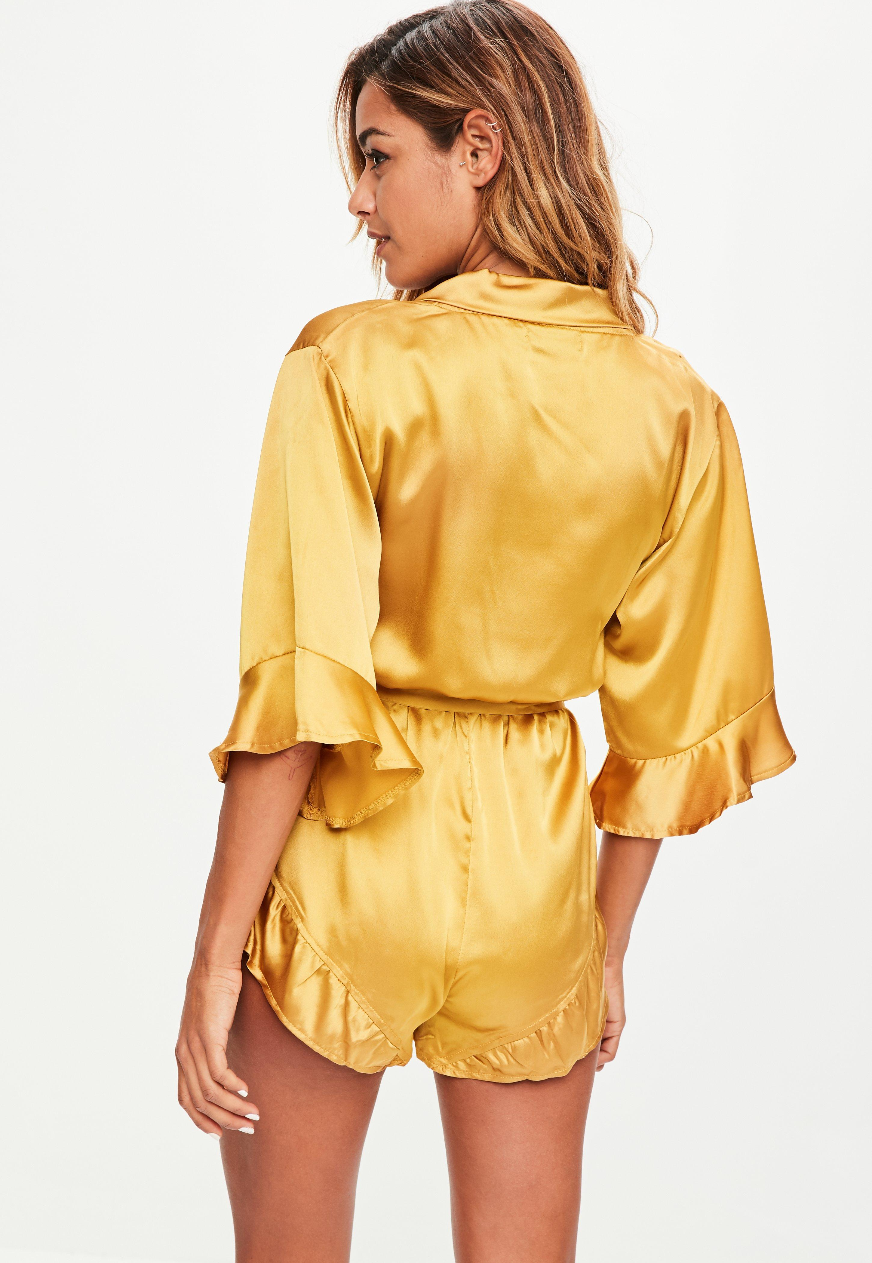 1fde71a48f Lyst - Missguided Yellow Satin Kimono Playsuit in Yellow