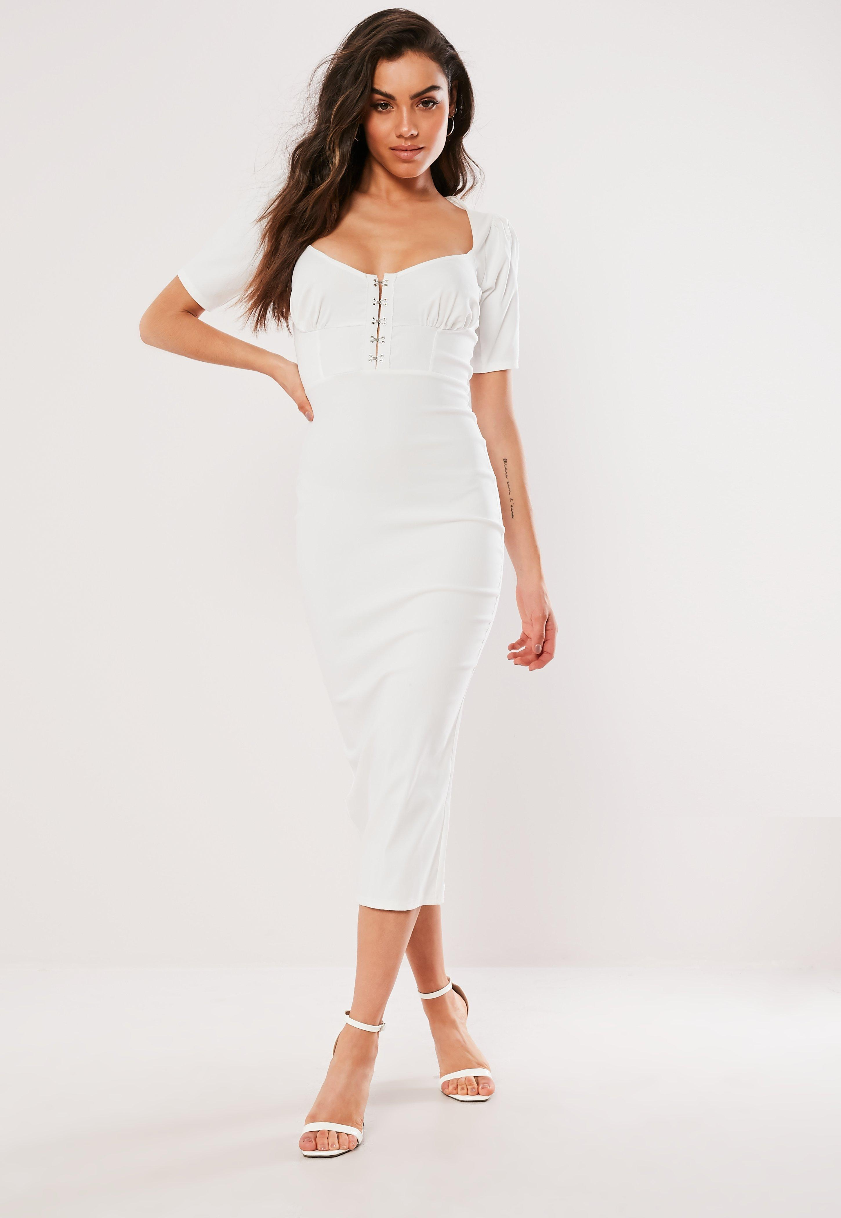 6051133aed Lyst - Missguided White Milkmaid Hook And Eye Bodycon Midi Dress in ...