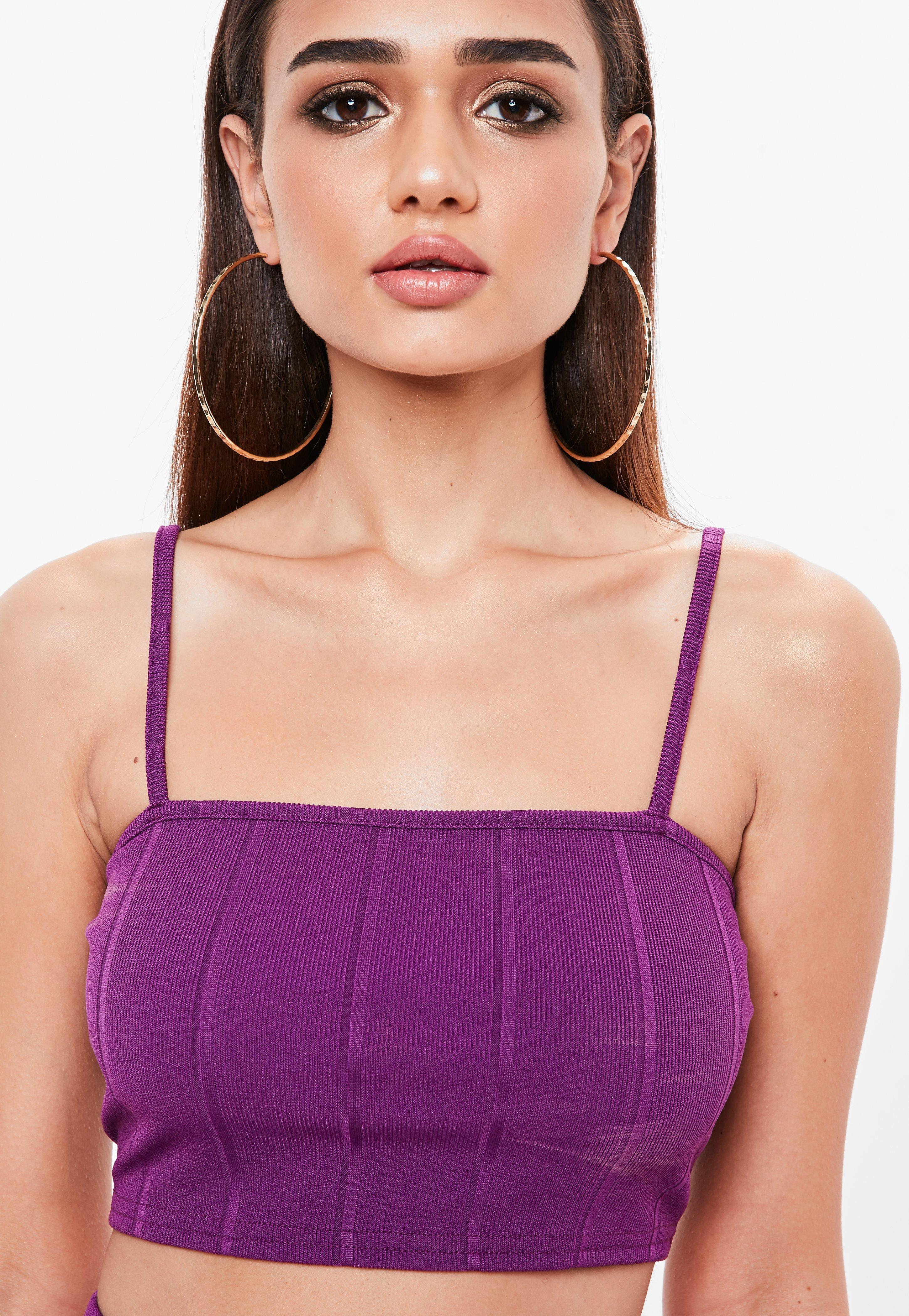 e8aa999f5c Lyst - Missguided Purple Bandage Ribbed Bralet in Purple