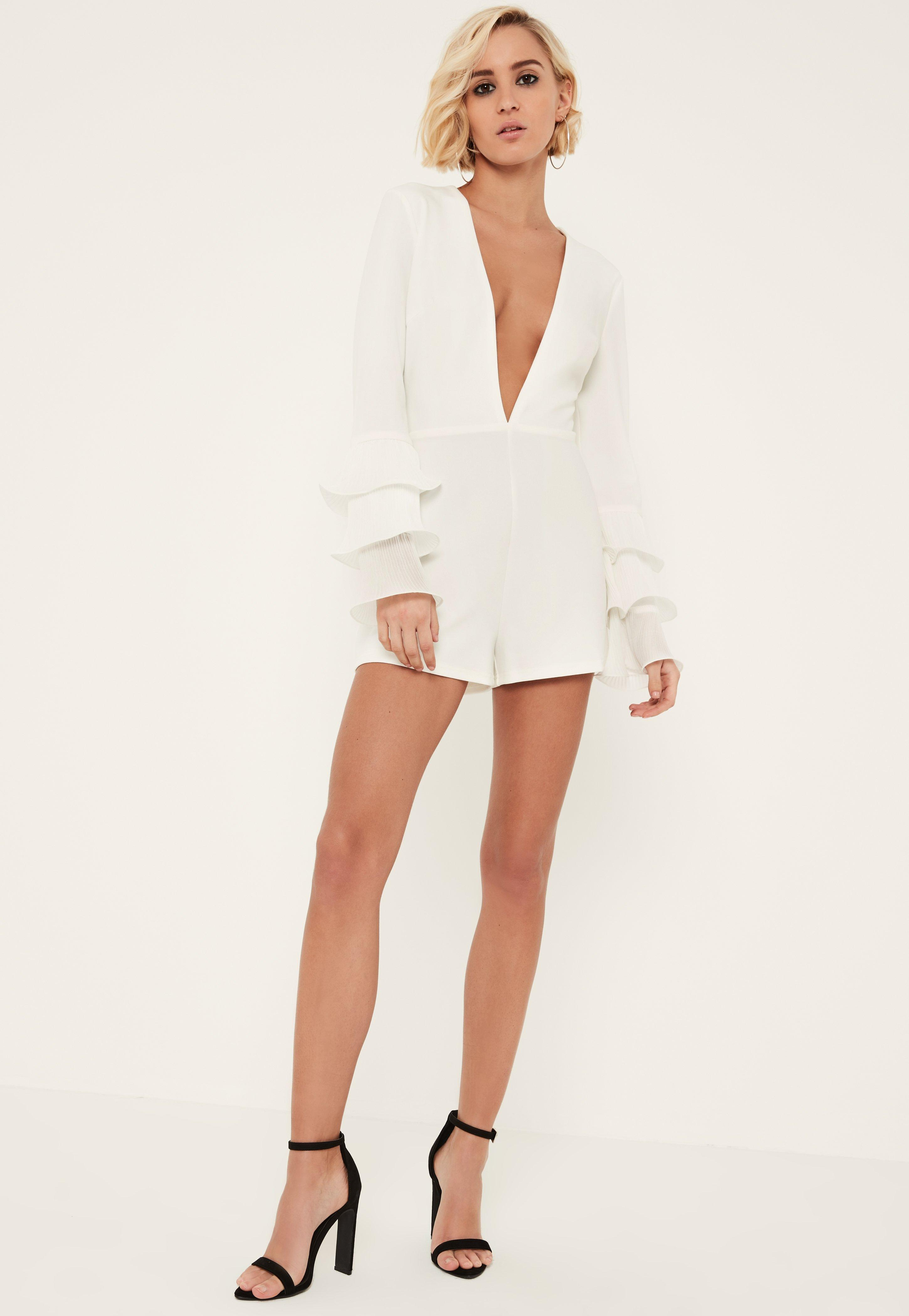 a7d1ca1732 Missguided White Pleated Flute Sleeve Plunge Romper in White - Lyst