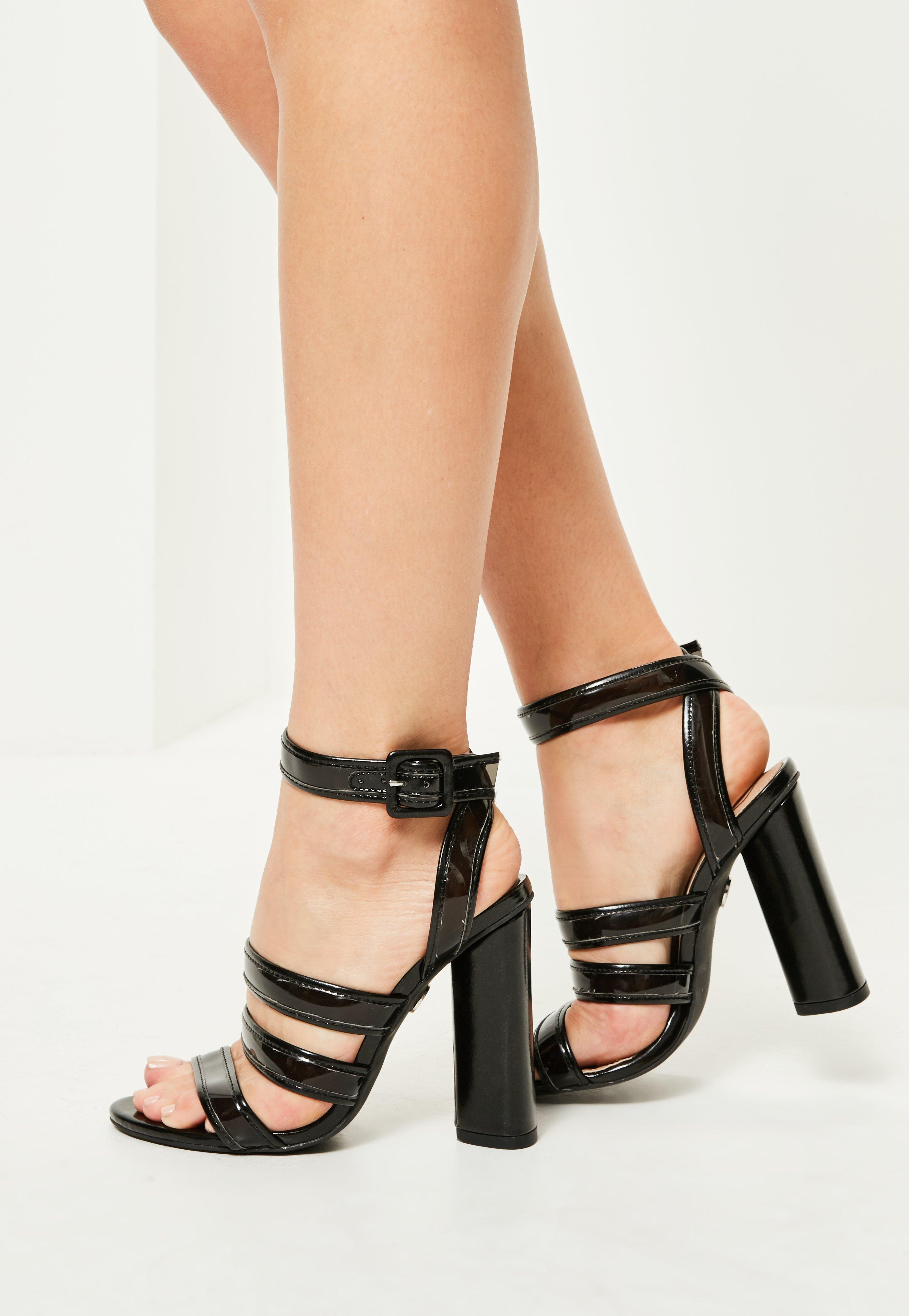 b0590c3a124 Missguided Black Multi Strap Block Heeled Sandals in Black - Lyst