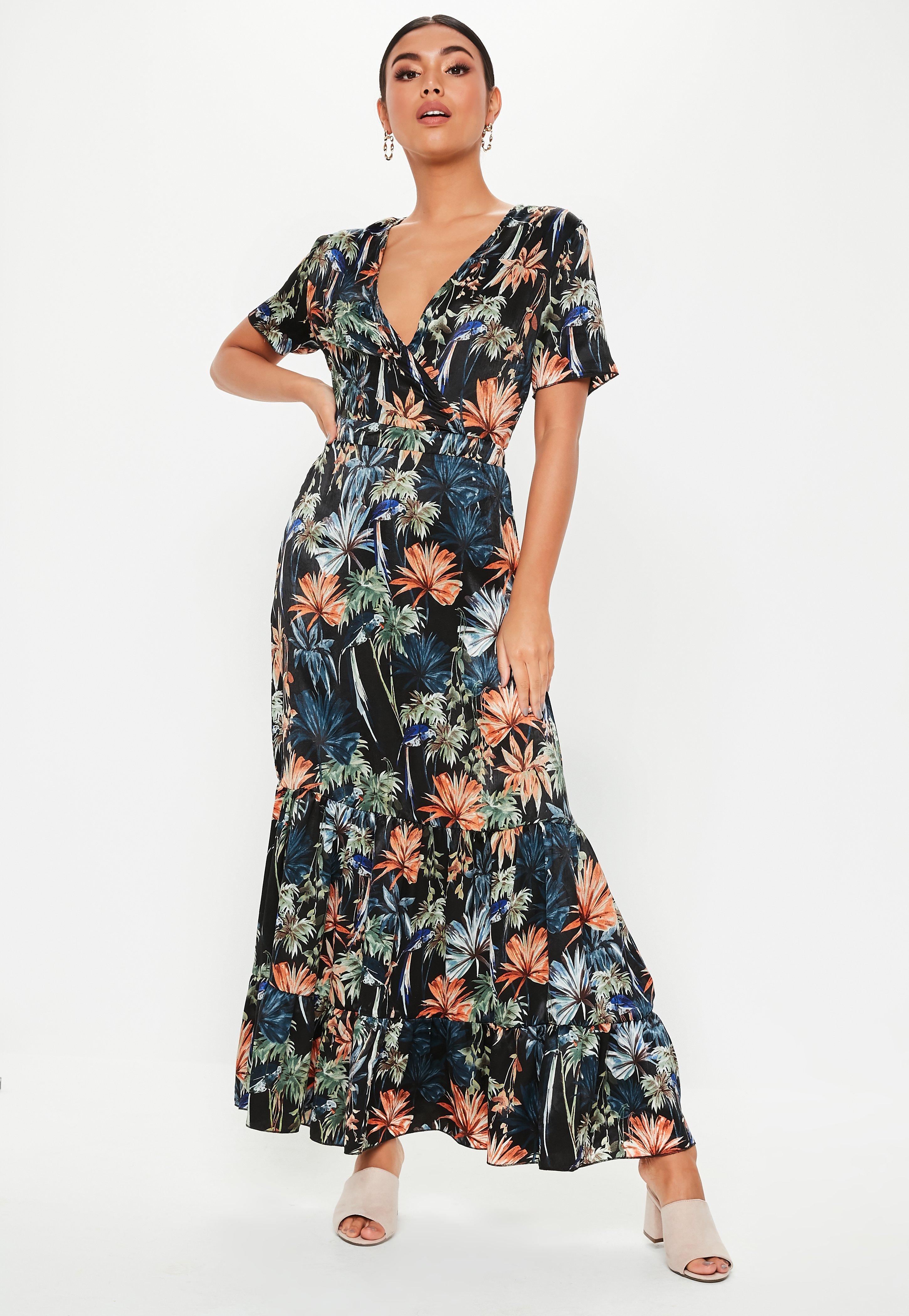 88eecdb1aab7d Missguided Black Floral Frill Hem Maxi Dress in Black - Lyst