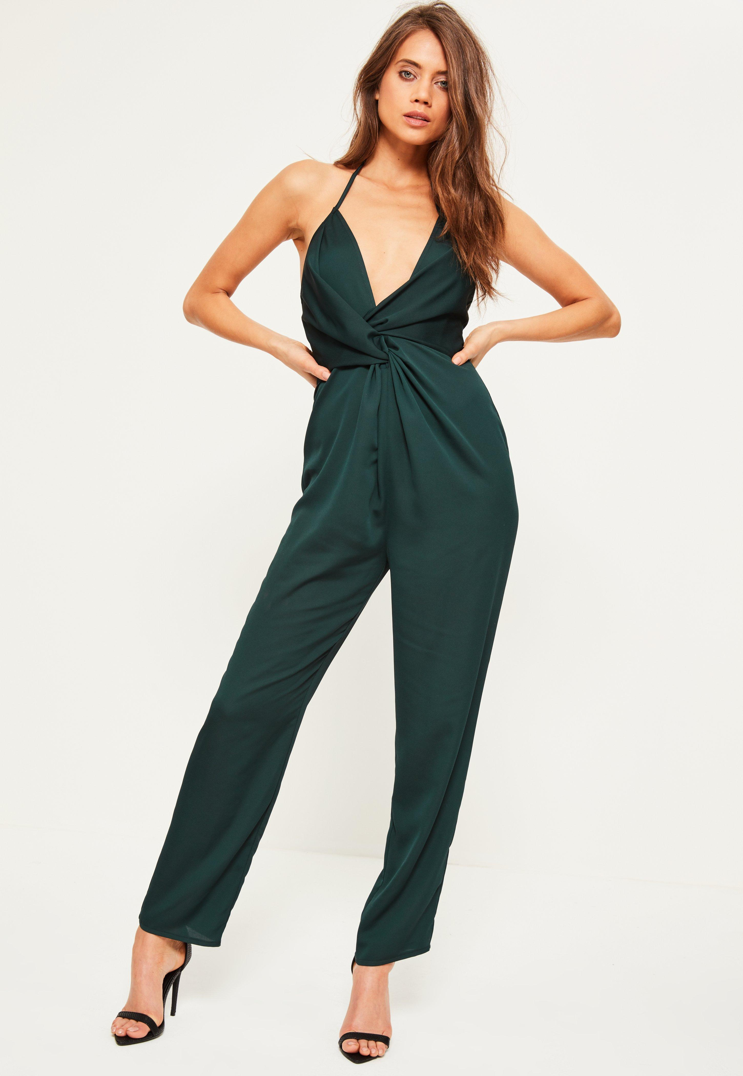 Missguided Green Knot Front Satin Halterneck Jumpsuit in Green | Lyst