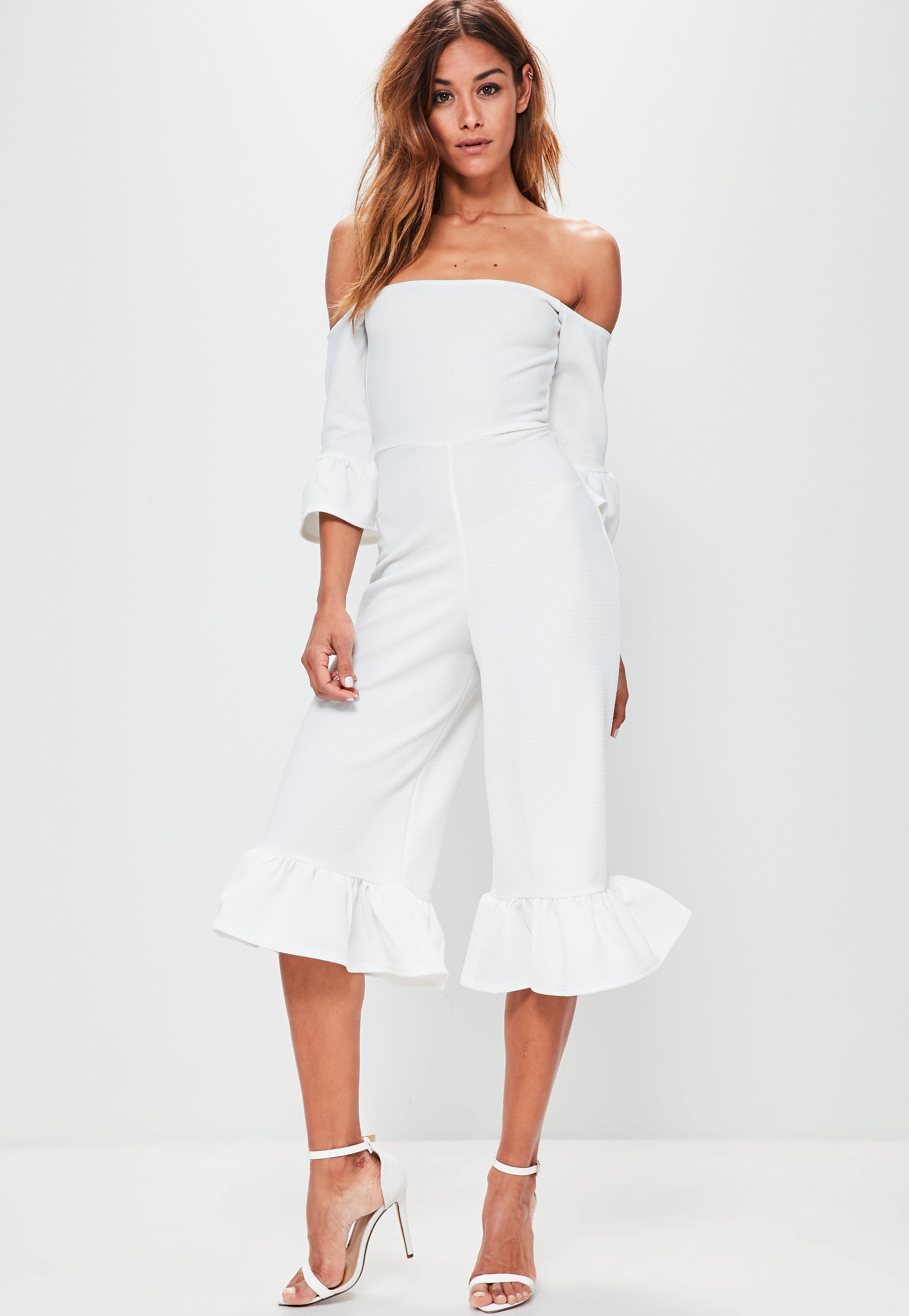 7d2793b04e Lyst - Missguided White Frill Cuff Culotte Bardot Jumpsuit in White
