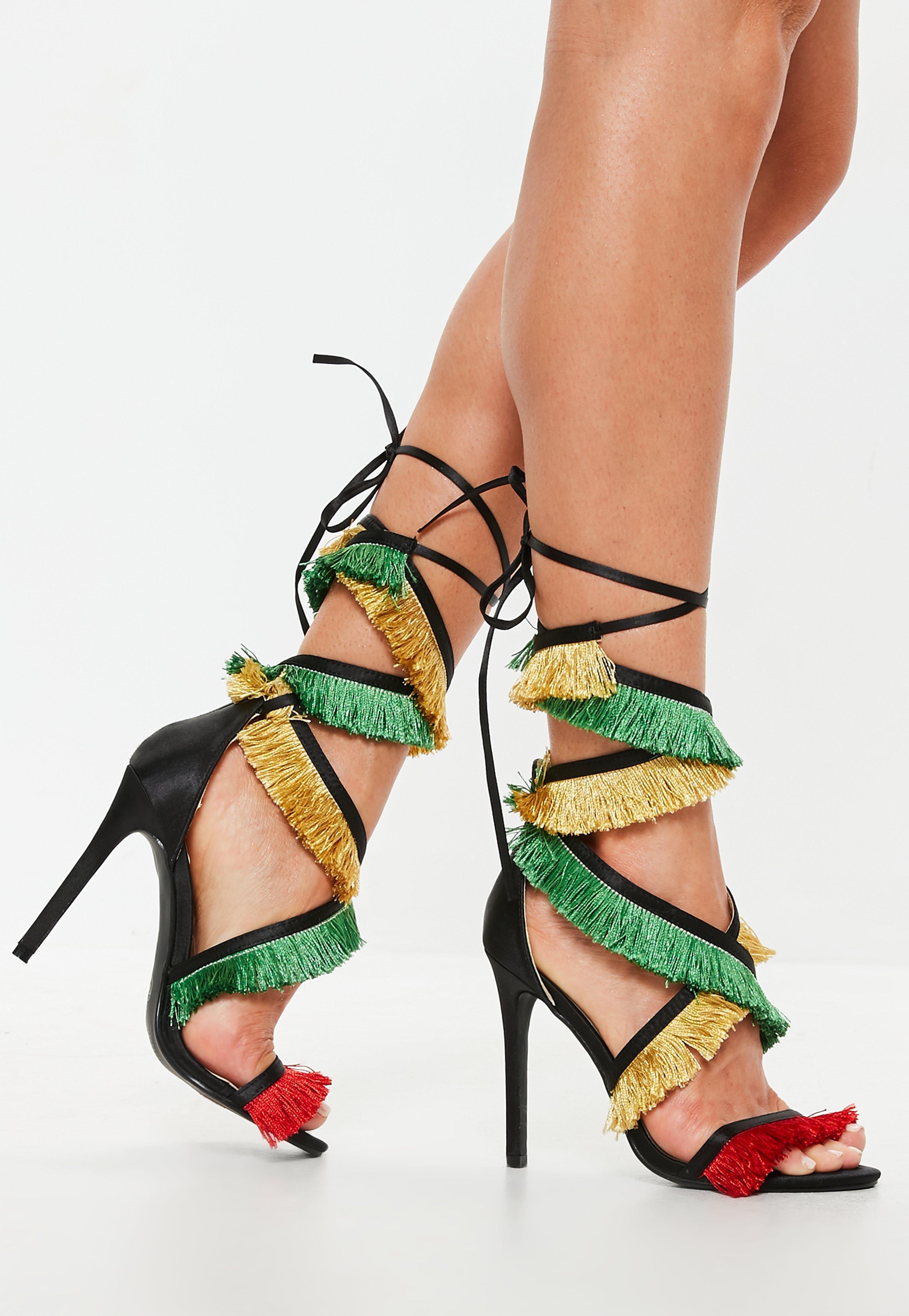 db750620647 Missguided Black Multi Tassel Lace Up Heeled Sandals in Black - Lyst