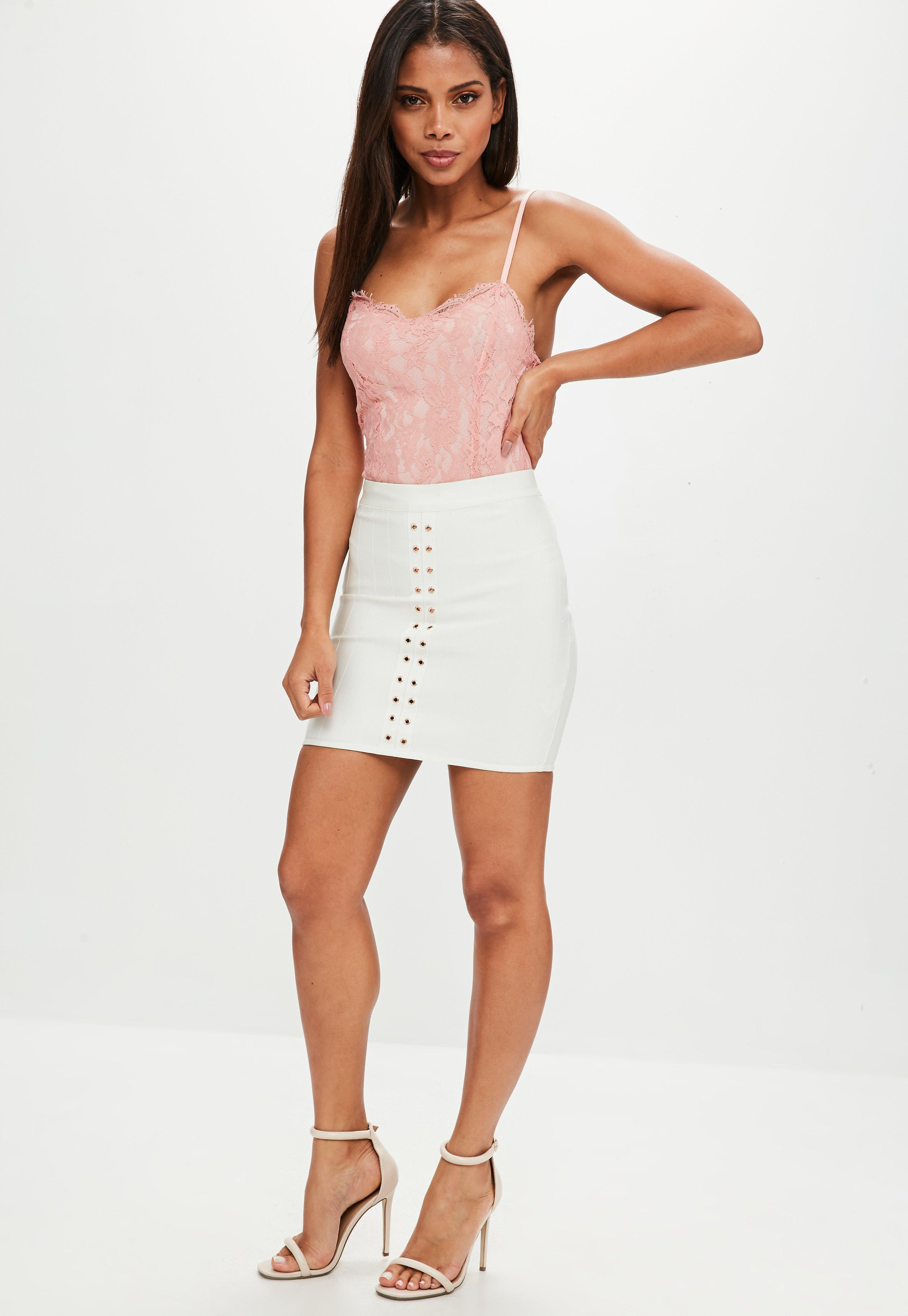 Lyst - Missguided Pink Lace Overlay Bodysuit in Pink
