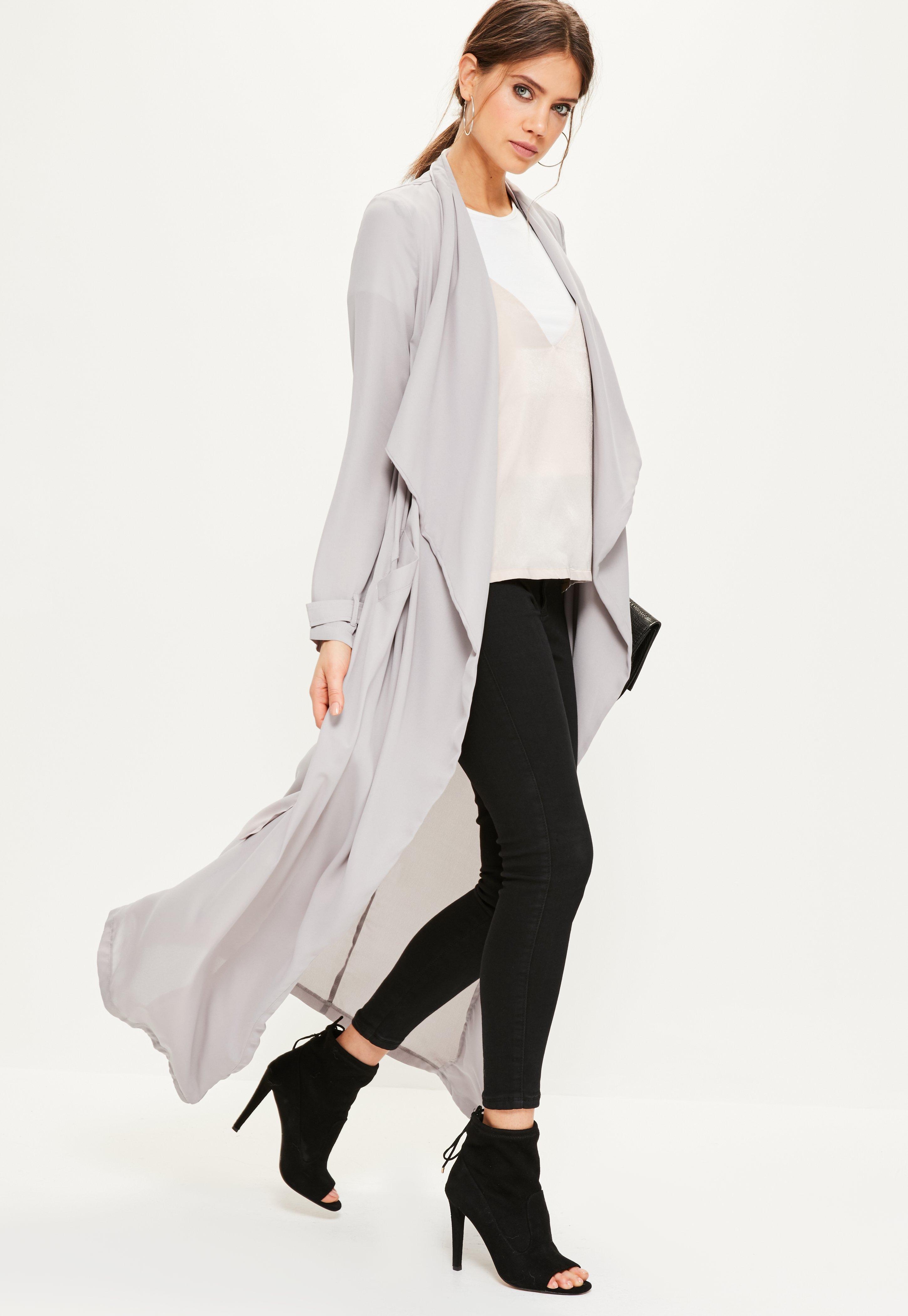 Lyst Missguided Grey Chiffon Longline Duster Jacket In Gray