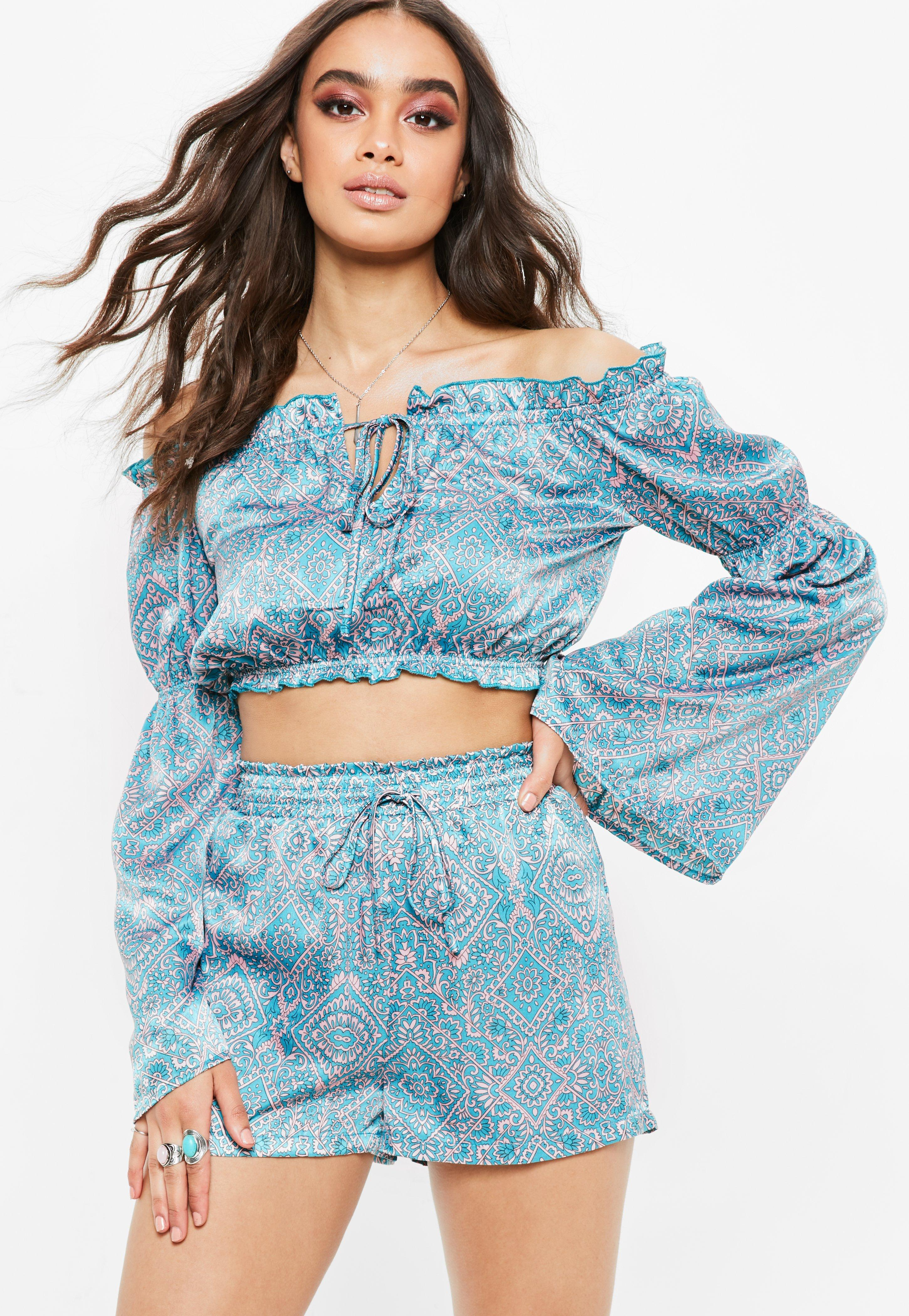 7fed376c07 Lyst - Missguided Teal Blue Paisley High Waisted Satin Runner Shorts ...