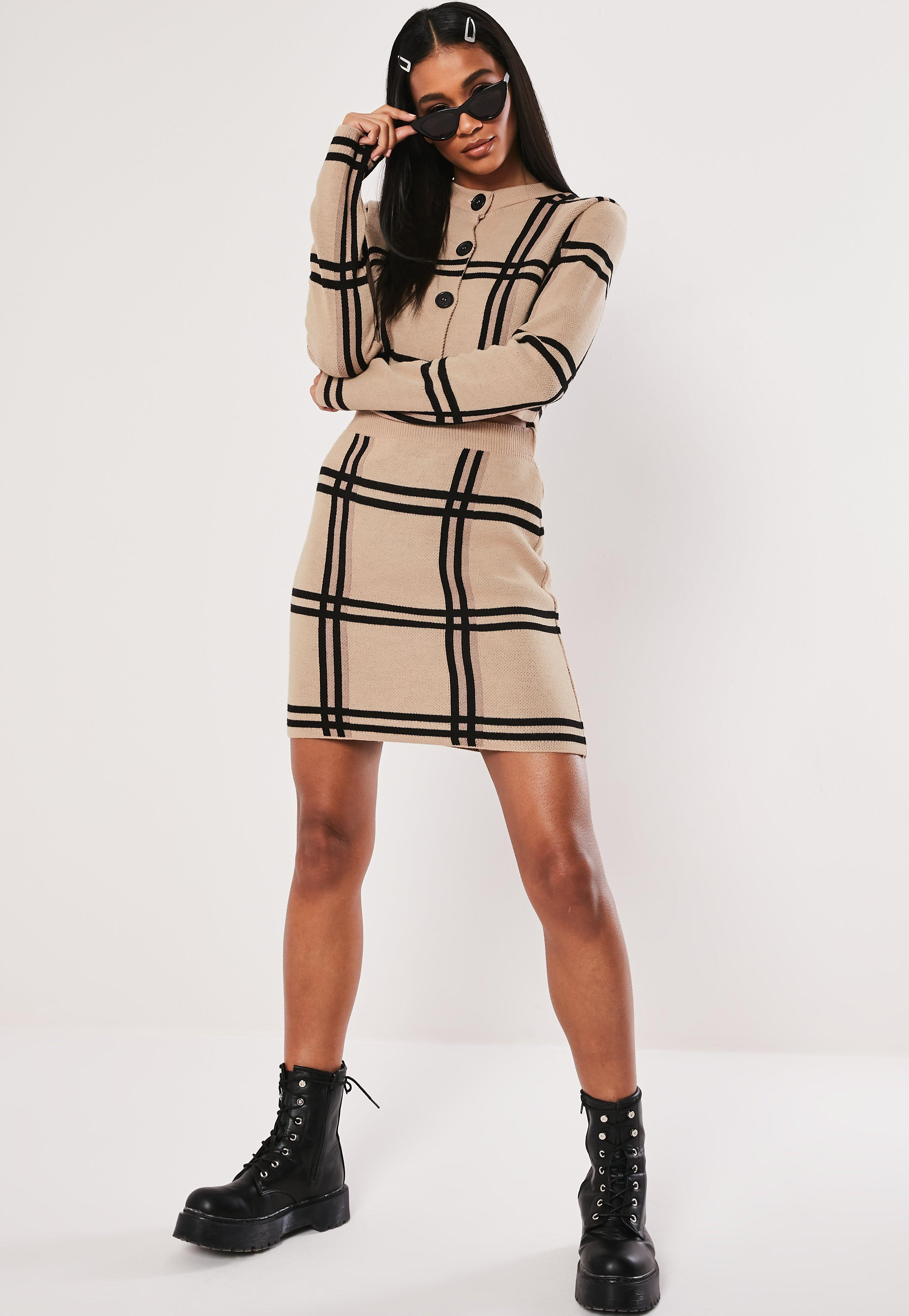 690c0917c73 Missguided - Natural Stone Check Knitted Button Up Co Ord Top - Lyst. View  fullscreen