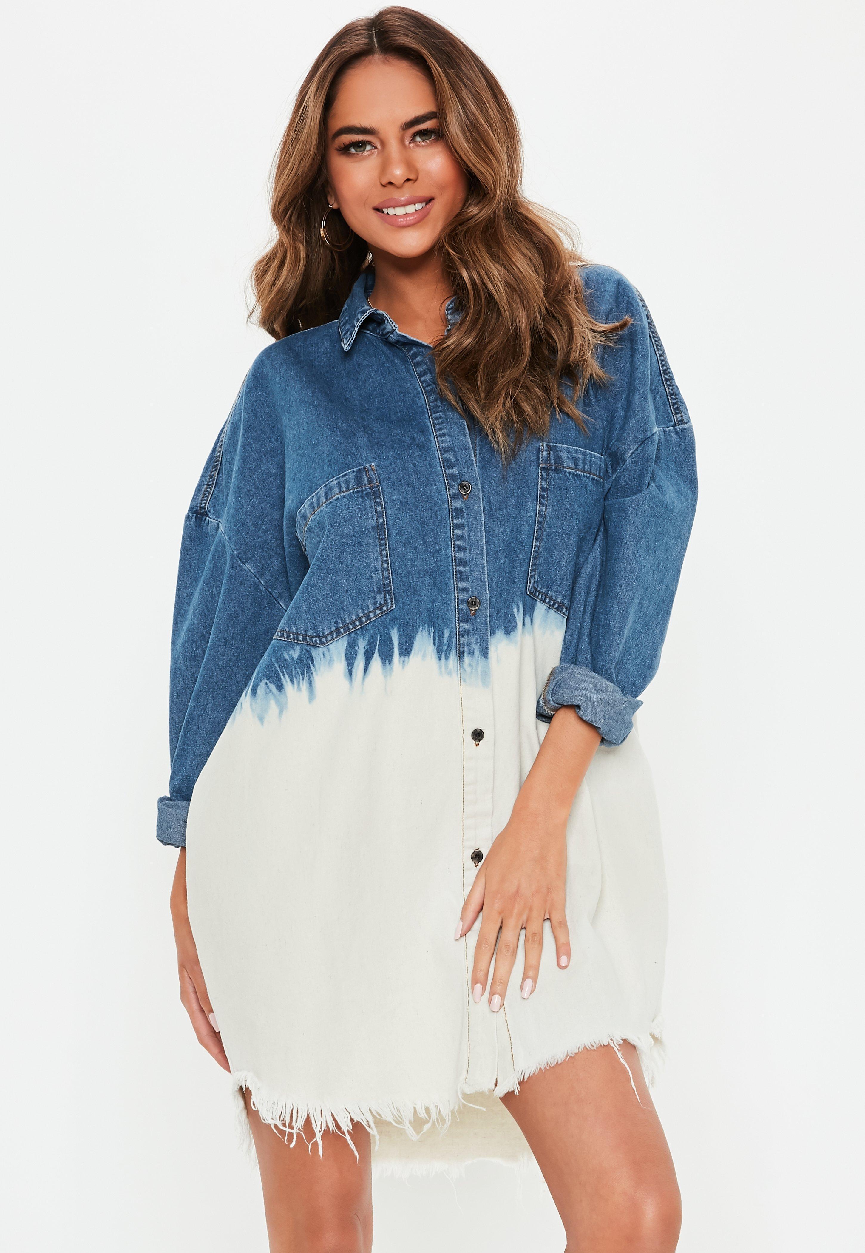 150198d2a77 Missguided - Blue Oversized Dip Dye Denim Shirt Dress - Lyst. View  fullscreen