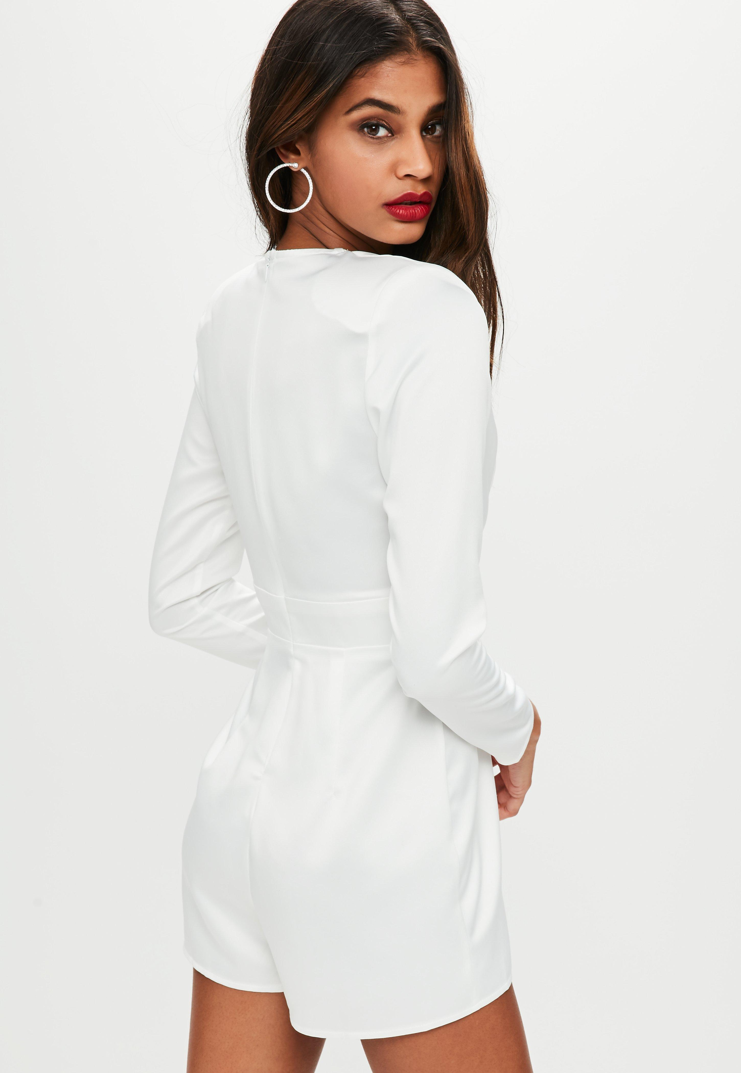 416f6eb24d29 Lyst - Missguided White Diamante Plunge Romper in White