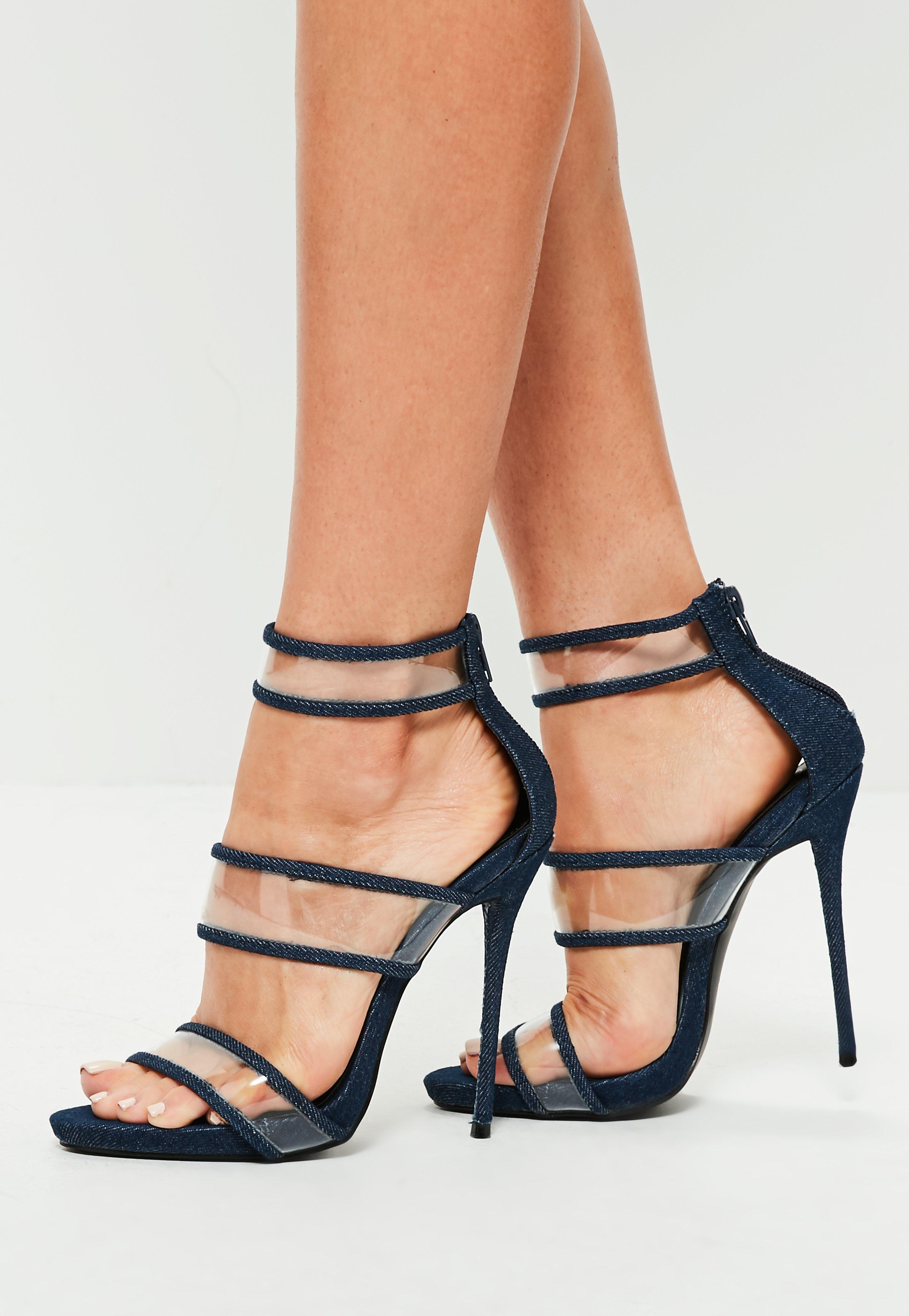 53fbca9922c9 Missguided Blue Denim Strappy Clear High Heel Sandals in Blue - Lyst