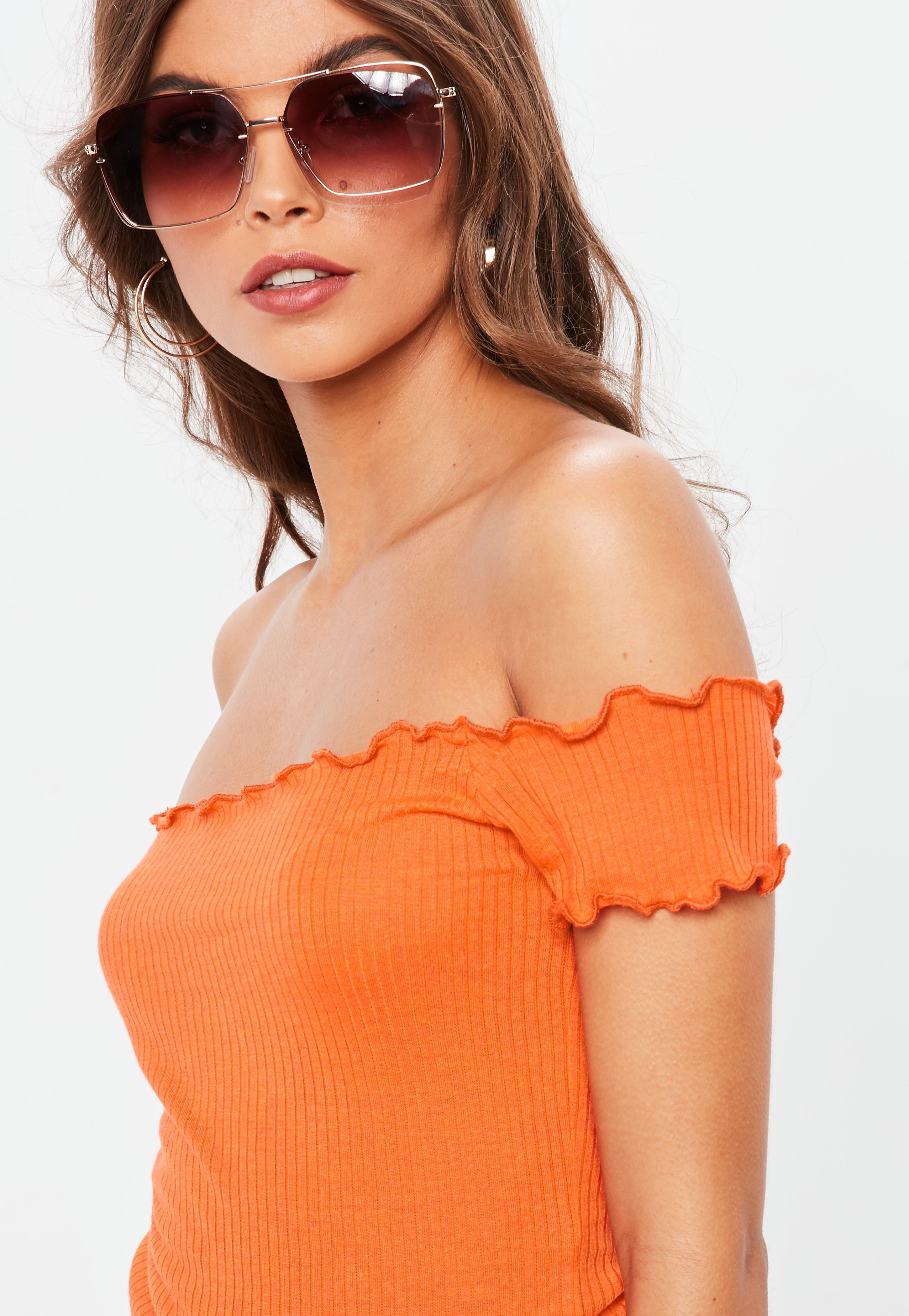 f400f309f9c7df Lyst - Missguided Orange Lettuce Hem Bardot Ribbed Top in Orange