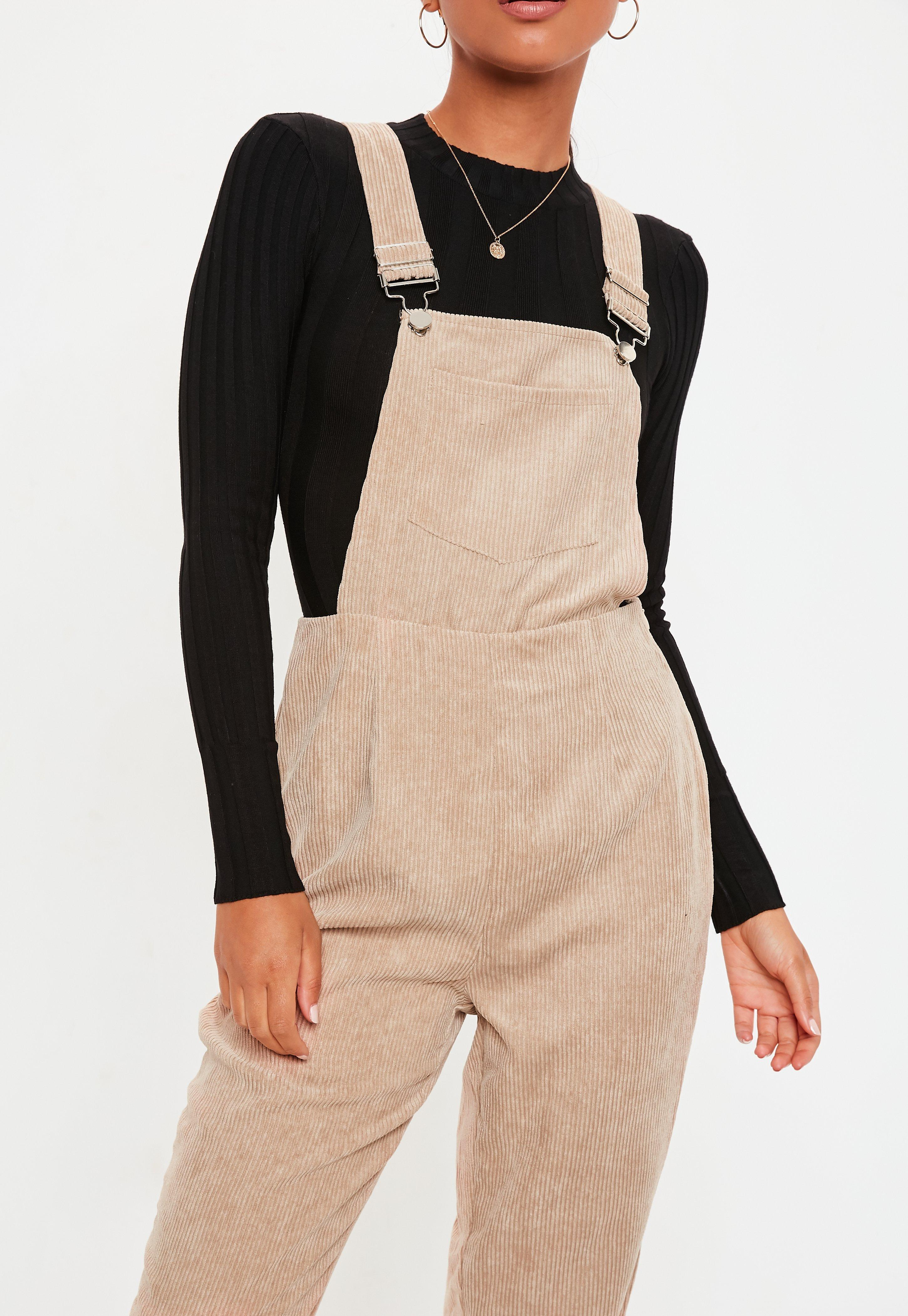 8d06fc8cb9 Missguided Stone Cord Dungaree Jumpsuit in Natural - Lyst