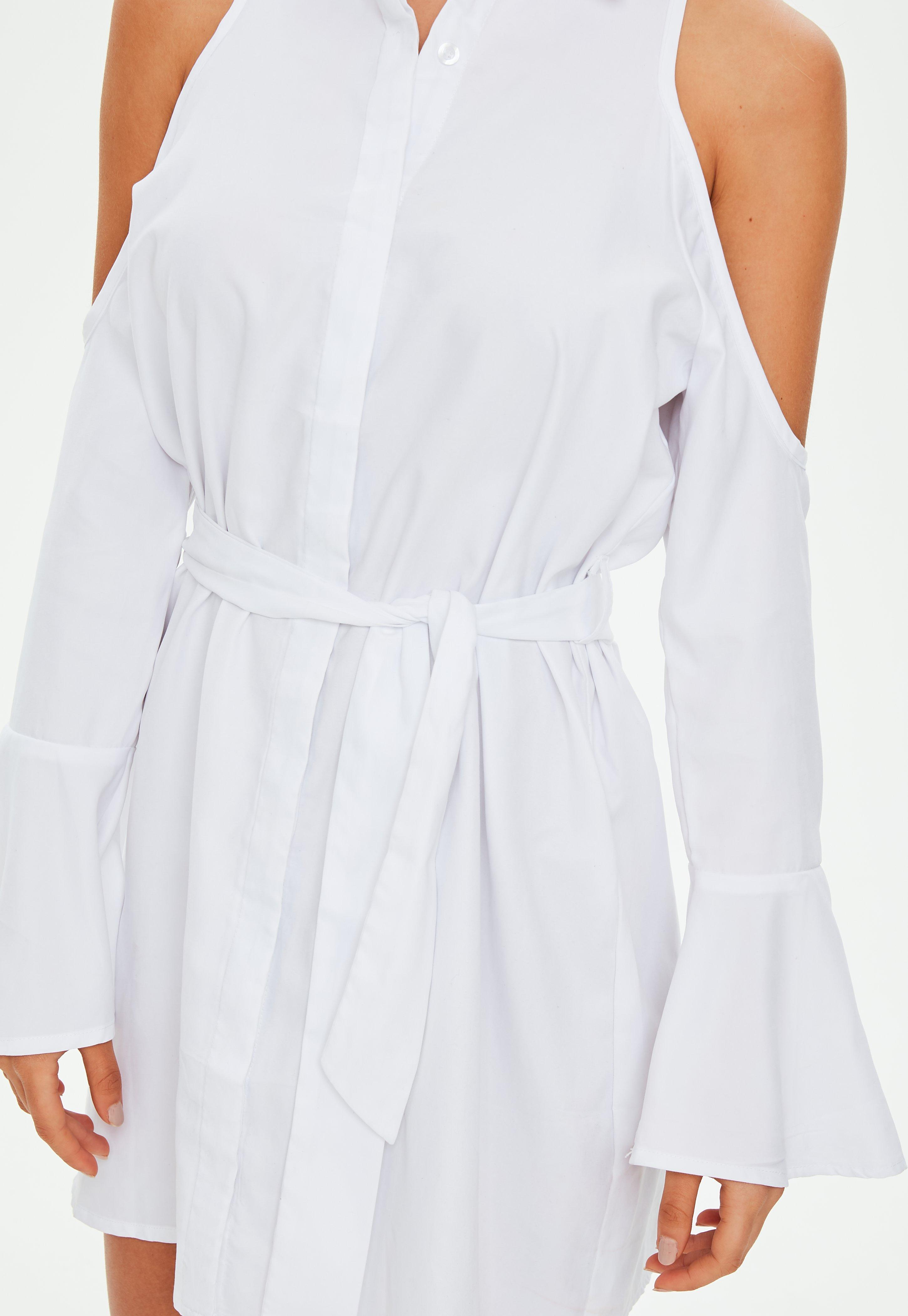 4e2b4046f42f5b Lyst - Missguided White Soft Touch Cold Shoulder Tie Shirt Dress in ...