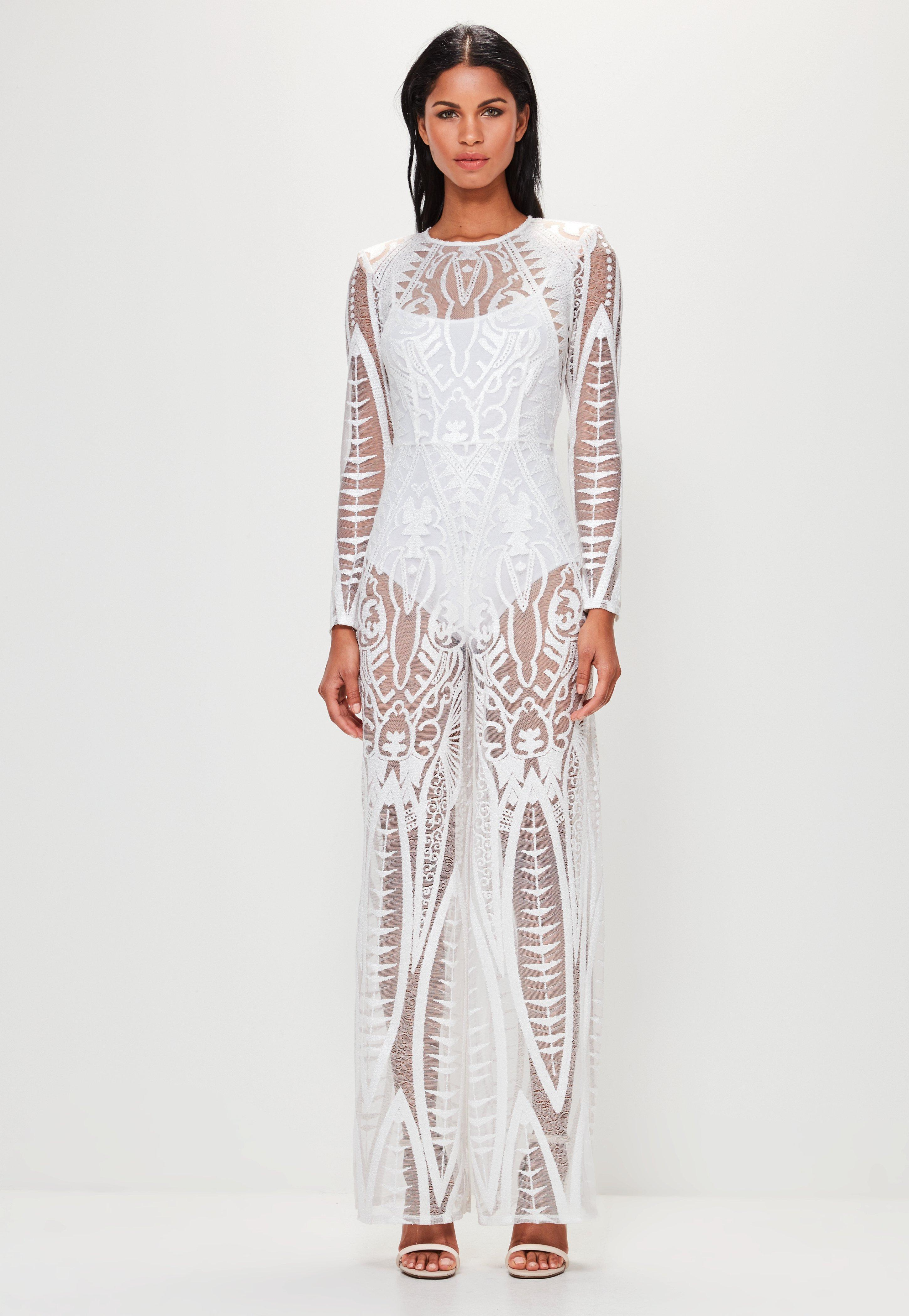 f3cff3fb7cf9 Lyst - Missguided Peace + Love White Lace Wide Leg Jumpsuit in White