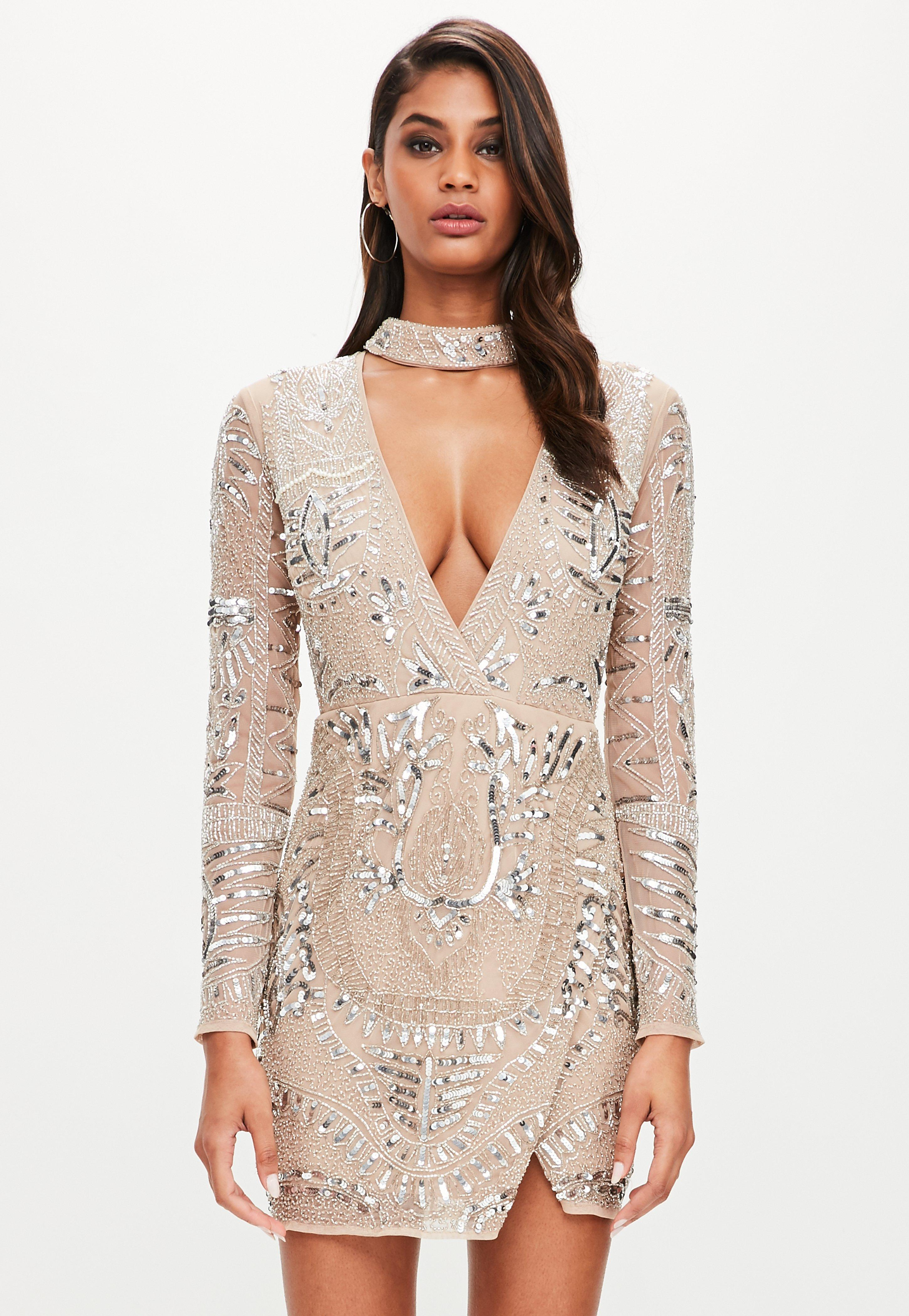 34eb41628bc5 Missguided Peace + Love Silver Choker Neck Embellished Dress in ...