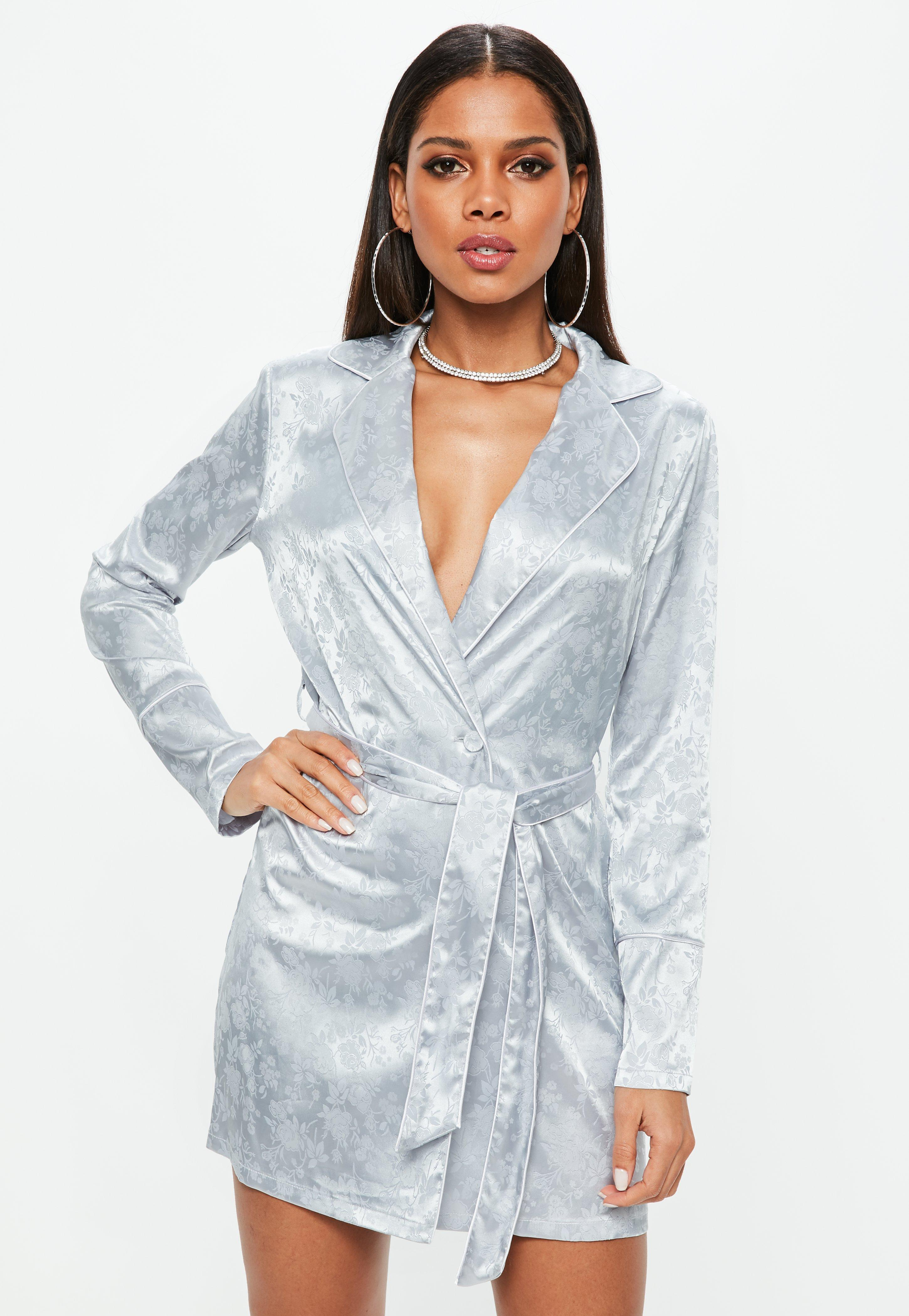 7ca76bf9634 Missguided Grey Floral Belted Collar Wrap Shift Dress in Gray - Lyst