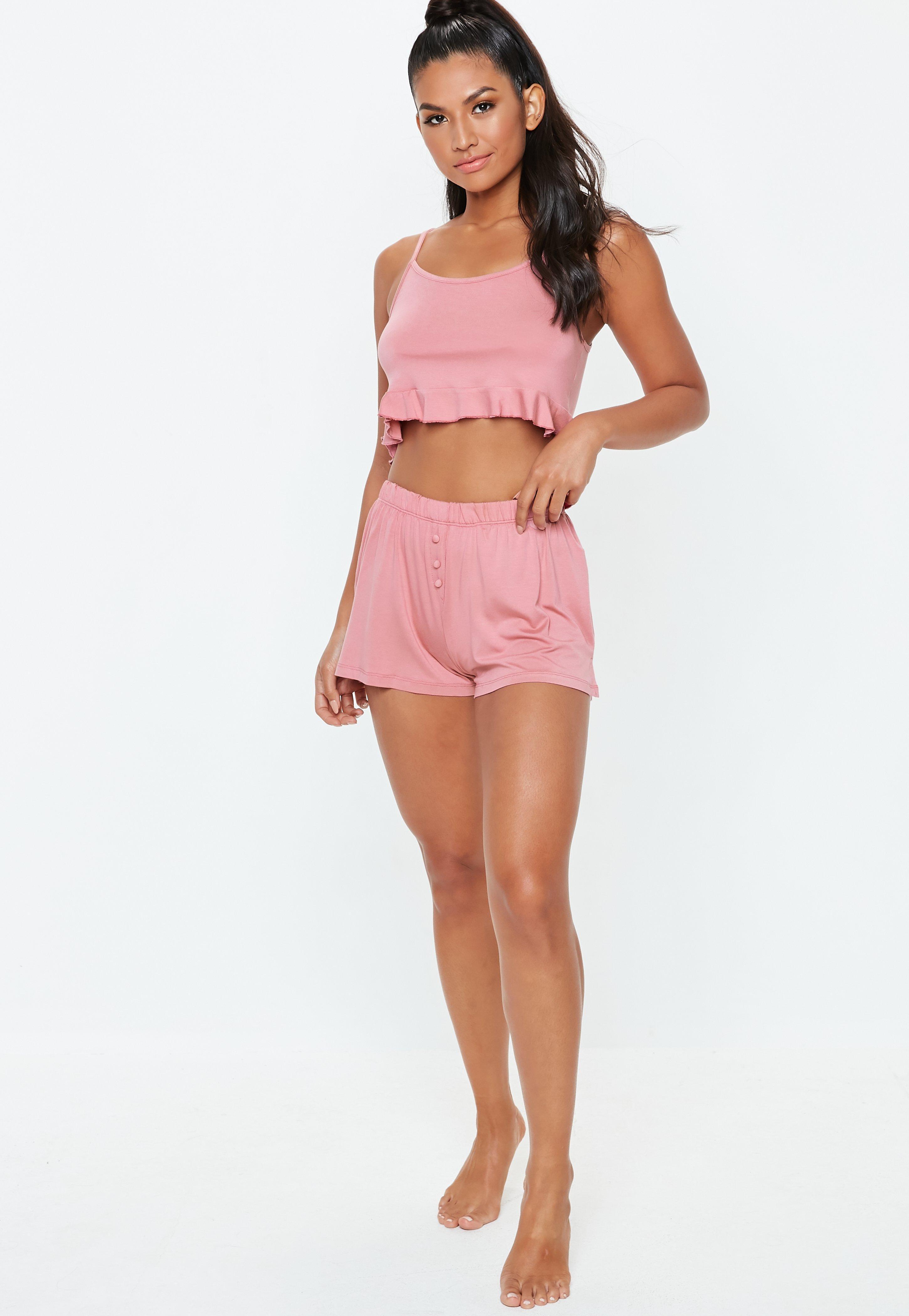 01120b186f70 Missguided - Pink Cami Frill Button Detail Shorts Pyjama Set - Lyst. View  fullscreen