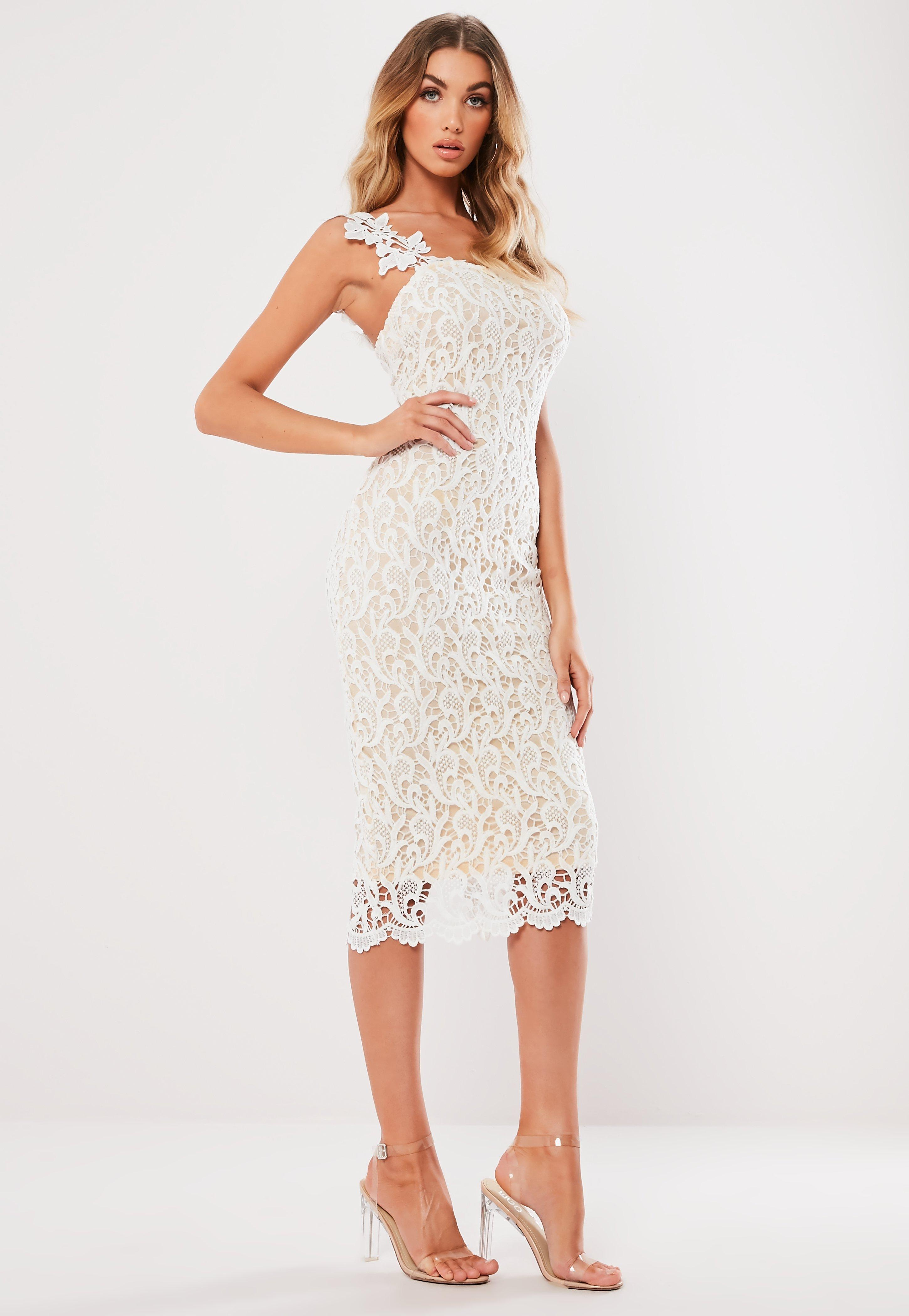 9e259e34561 Lyst - Missguided White One Shoulder Crochet Midi Dress in White