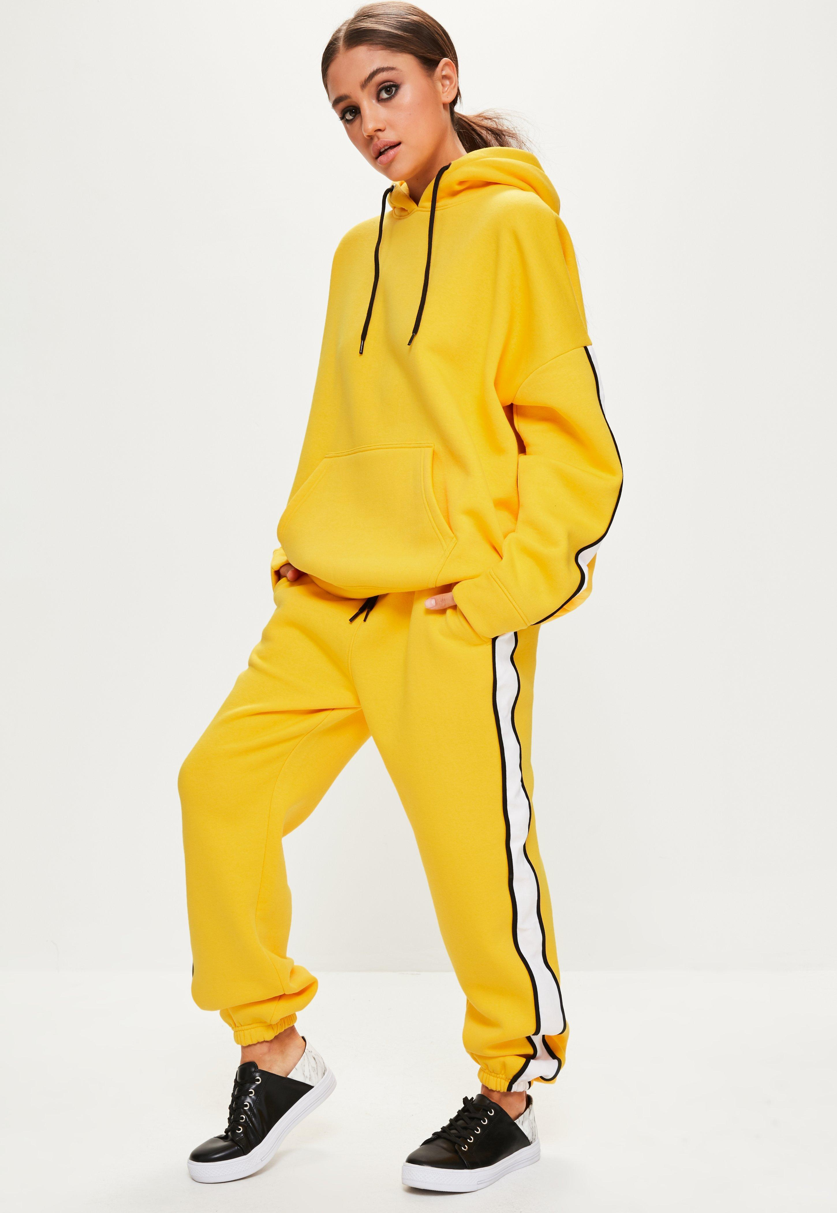 Missguided Yellow Oversized White Binding Tracksuit Hoodie