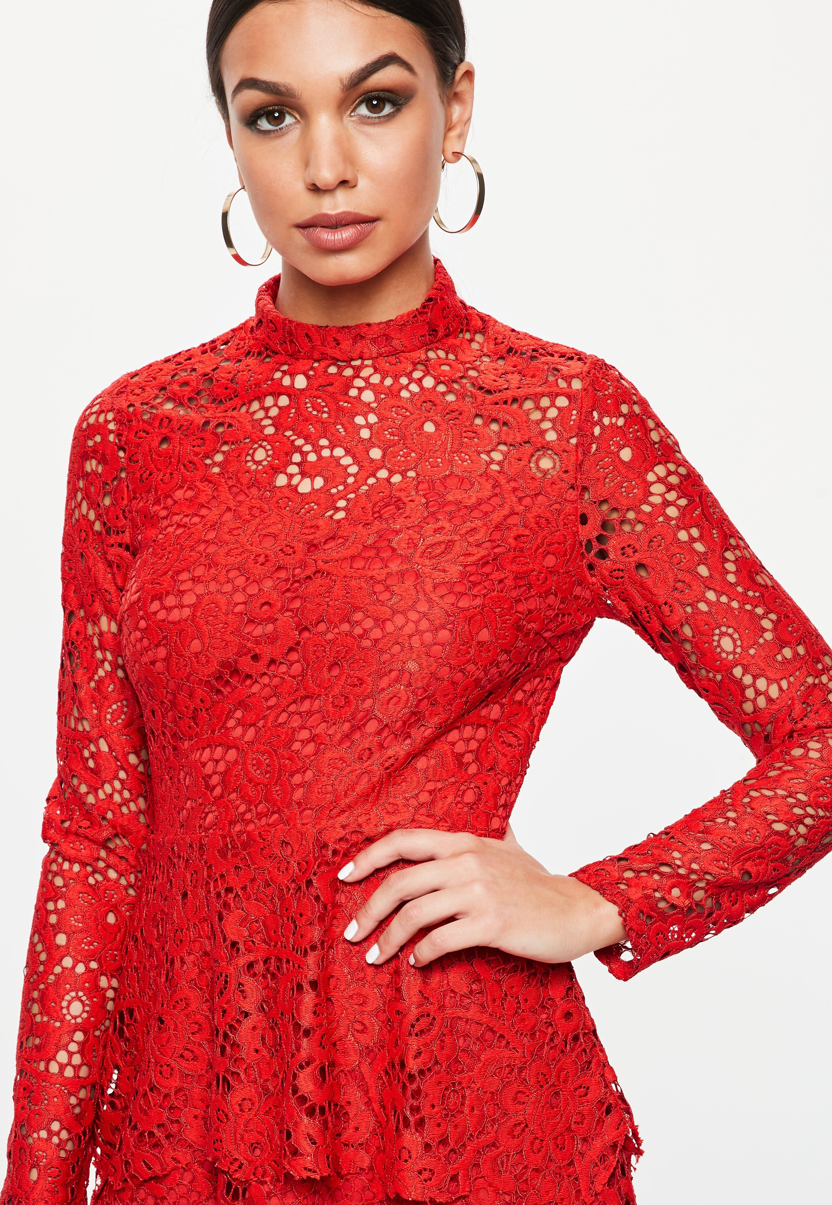 e86d46e2b0 Missguided Red Lace High Neck Frill Layered Mini Dress in Red - Lyst