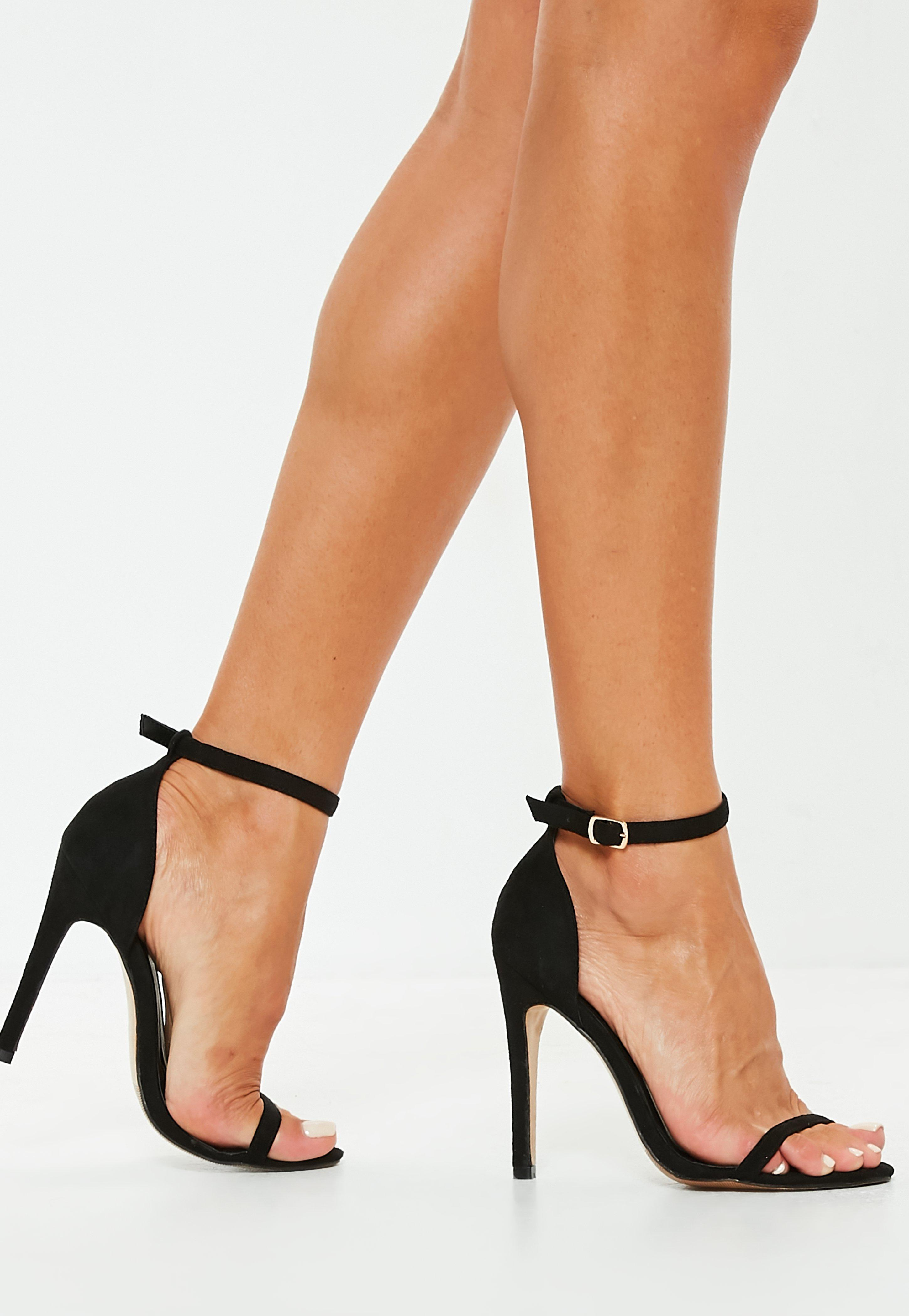 f7e92ff20ec Lyst - Missguided Black Barely There Heeled Sandals in Black