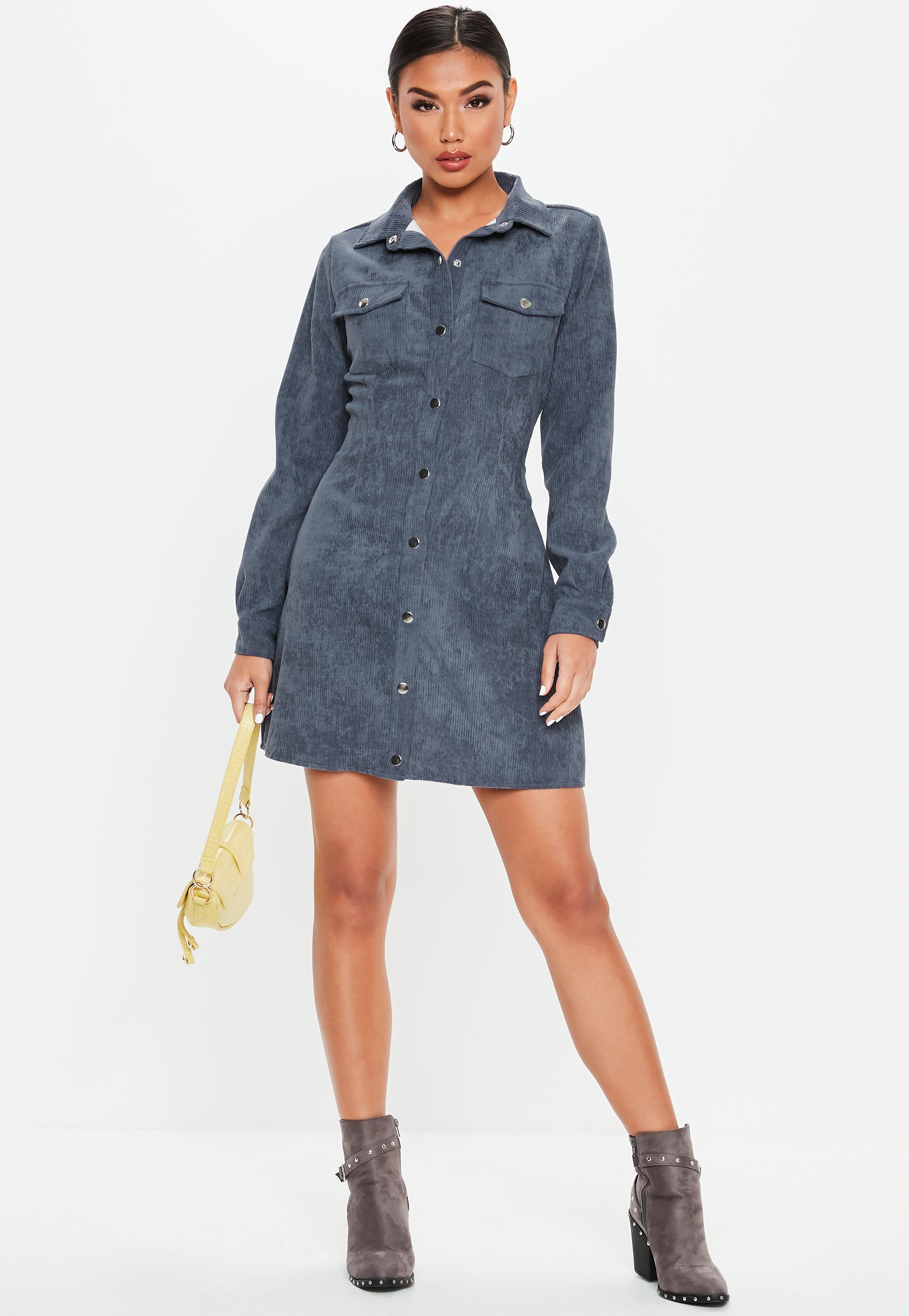 d601cca020 Missguided - Blue Cord Skater Shirt Dress - Lyst. View fullscreen